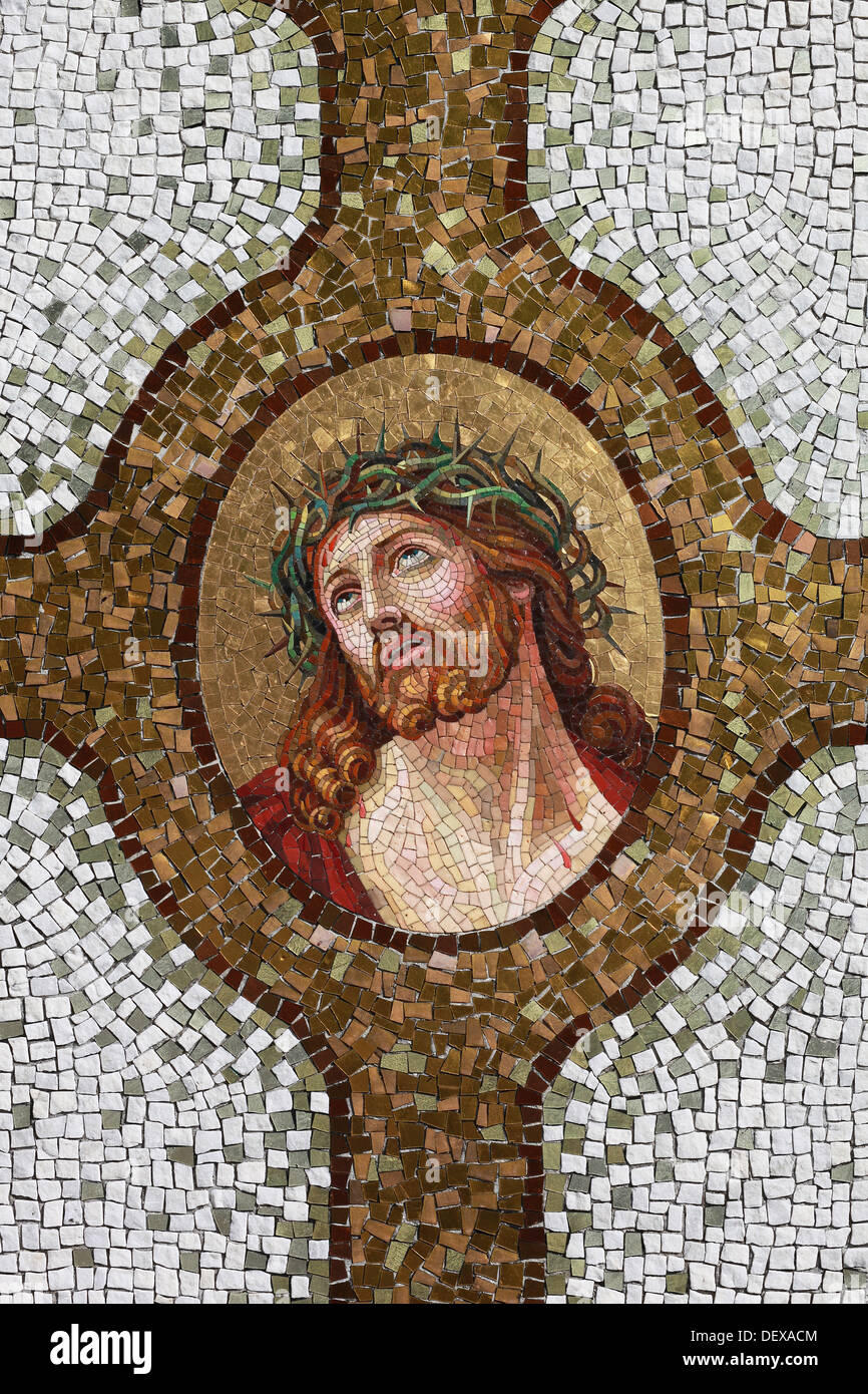 A Mosaic Depicting The Crucified Jesus With Crown Of Thorns Application On Tombstone At