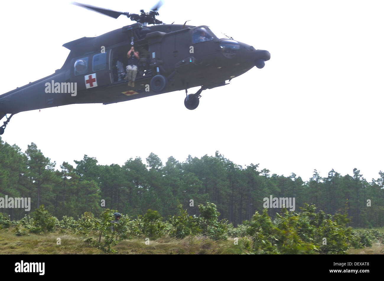 Paratroopers of the 82nd Airborne Division's 2nd Brigade Combat Team and Combat Aviation Brigade evacuate a simulated casualty during medevac hoist training as part of the 2nd Battalion, 325th Airborne Infantry Regiment's intensive training cycle on Fort - Stock Image