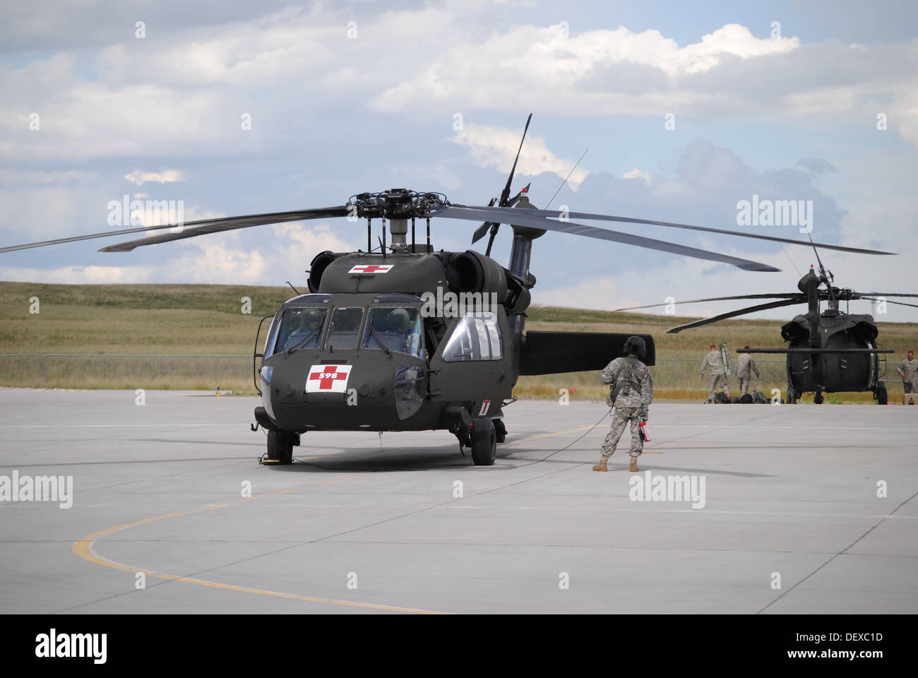 A Wyoming Army National Guard UH-60 Black Hawk prepares to take off to support flood evacuation efforts in Colorado Stock Photo