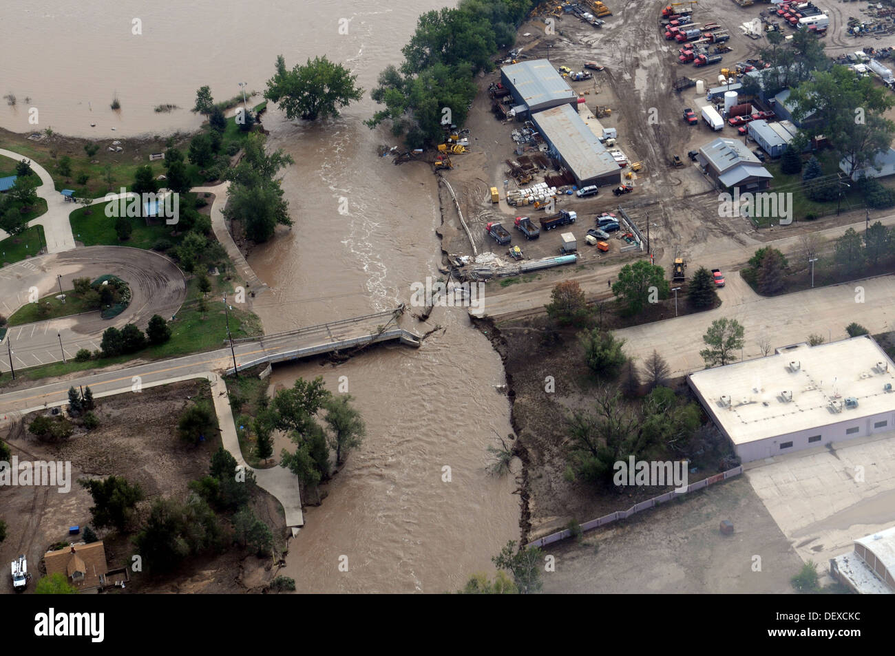A view of state infrastructure destroyed by heavy rains, with some areas receiving as much as 18 inches in a 24-hour period in Boulder, Colo., Sept. 14, 2013. U.S. Soldiers with the 2nd General Support Aviation Battalion, 4th Combat Aviation Brigade, 4th - Stock Image