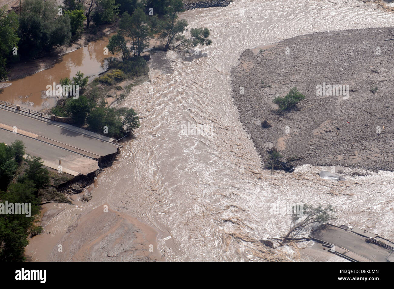 A view of a road destroyed by heavy rains, with some areas receiving as much as 18 inches in a 24-hour period in Boulder, Colo., Sept. 14, 2013. U.S. Soldiers with the 2nd General Support Aviation Battalion, 4th Combat Aviation Brigade, 4th Infantry Divis - Stock Image