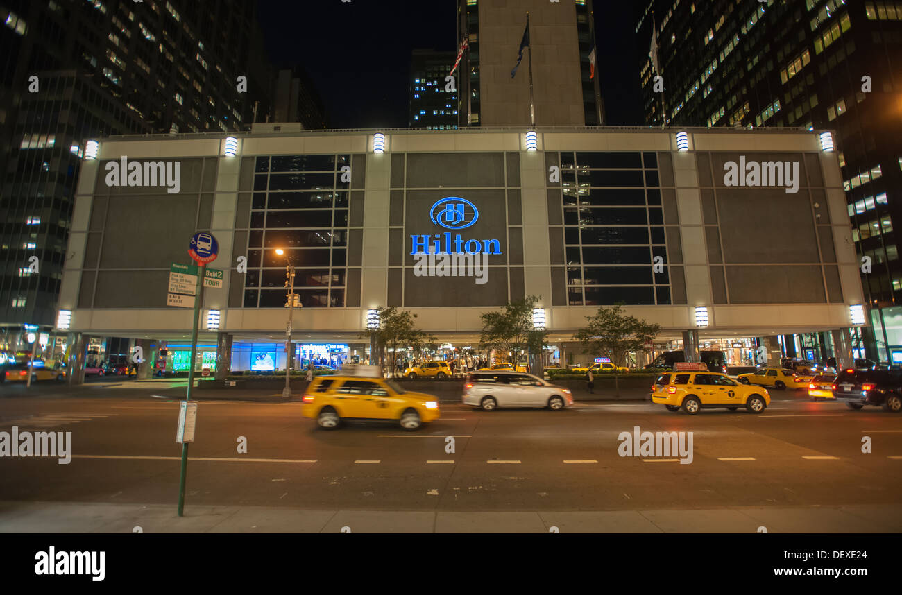 The New York Hilton Hotel on Sixth Avenue in New York - Stock Image