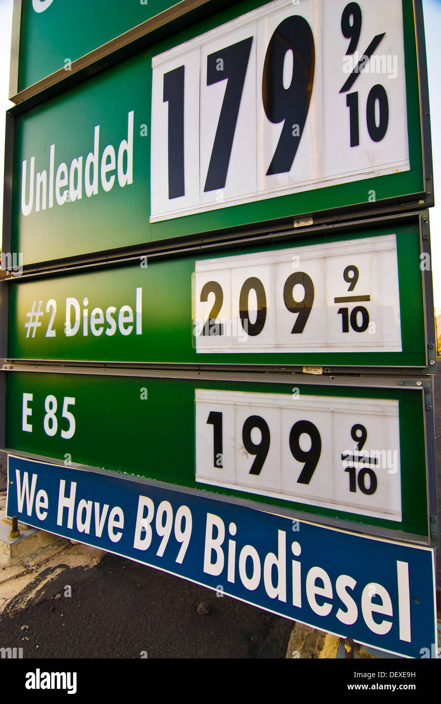 Price sign at gasoline station for 85 ethanol and biodiesel fuel for automobiles, Tucson Arizona - Stock Image