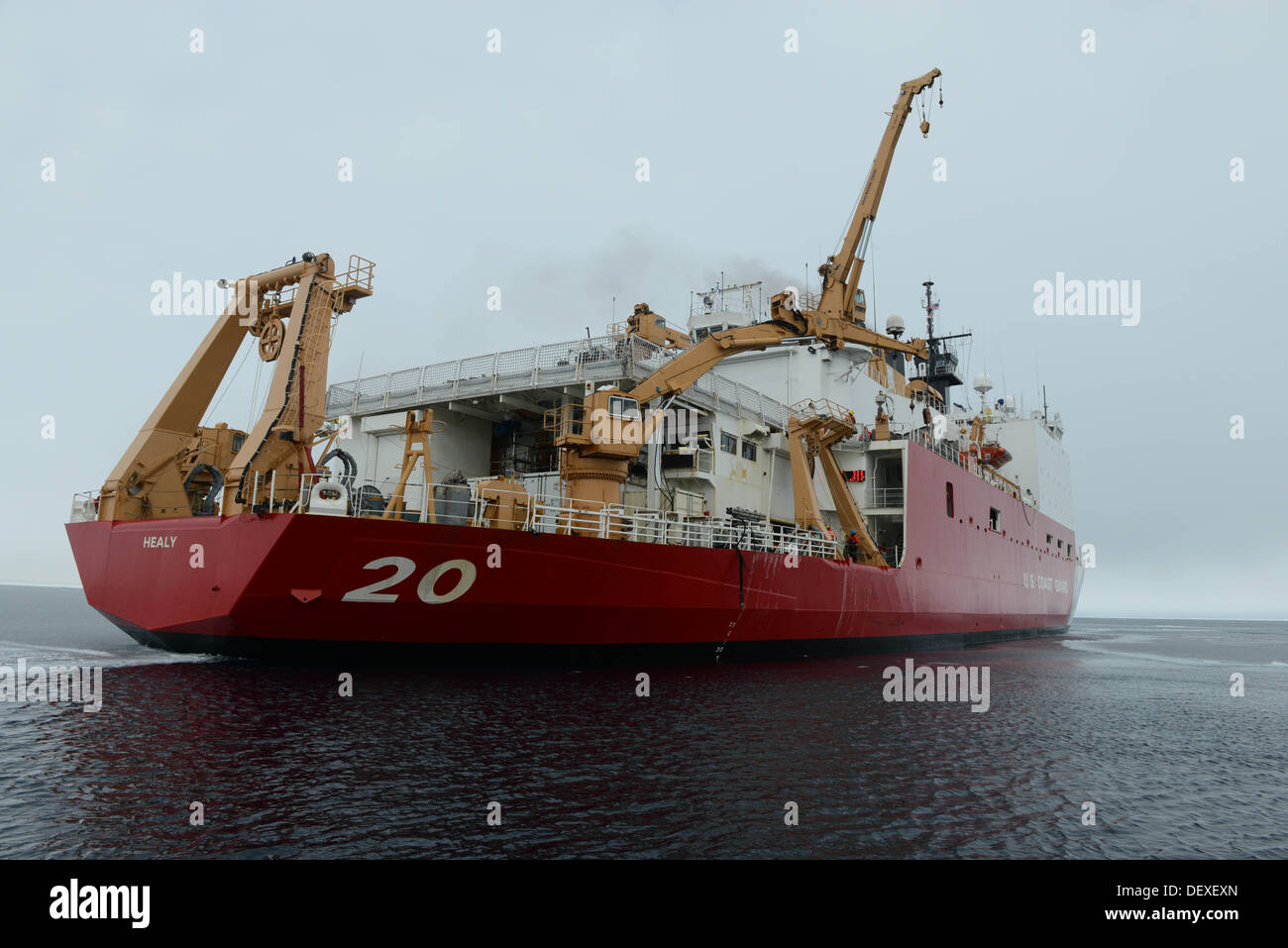 The Coast Guard Cutter Healy operates in the Arctic Ocean, Sept. 12, 2013. The cutter's crew is conducting a series of science missions above the Arctic Circle in conjunction with Arctic Shield 2013. - Stock Image