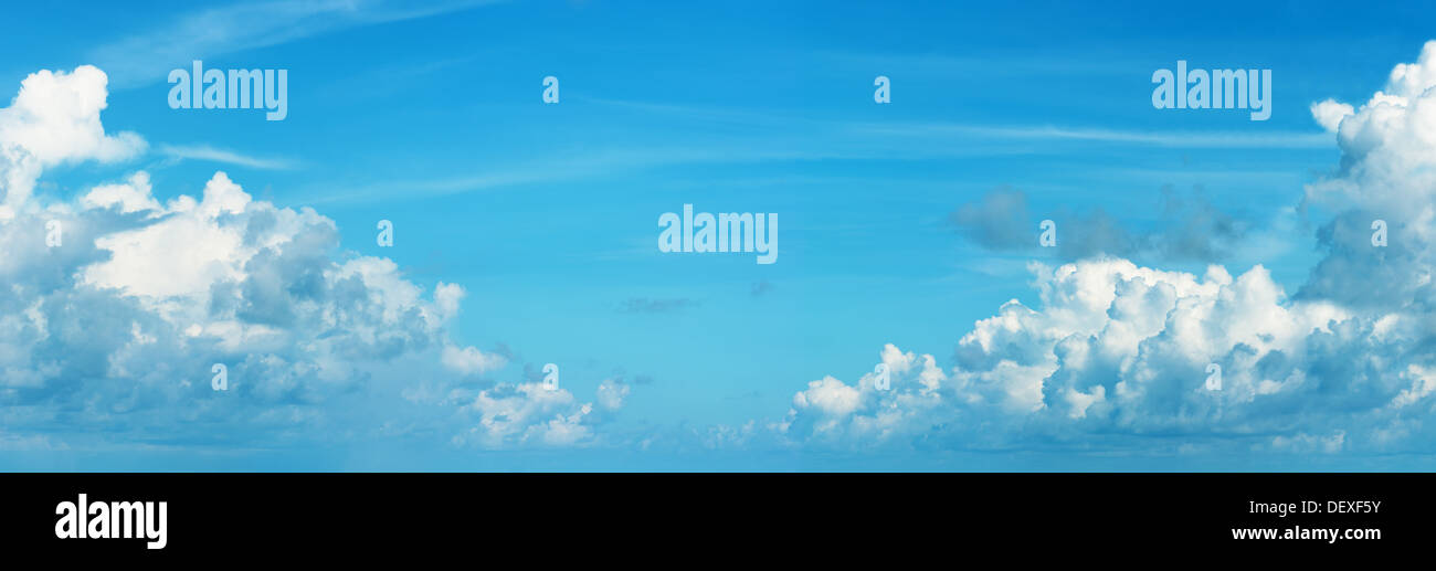 Panoramic skyscape with Cumulonimbus clouds - natural background - Stock Image