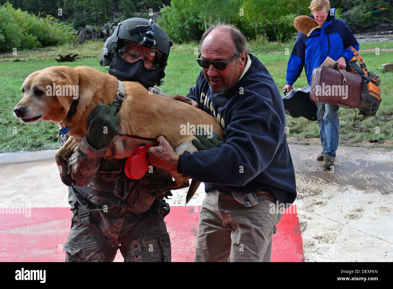 U.S. Army Sgt. 1st Class Keith Bart, a UH-60 Black Hawk helicopter crew chief with Charlie Company, 2nd General Support Aviation Battalion, 4th Aviation Regiment, 4th Combat Aviation Brigade, 4th Infantry Division, carries an animal to safety during flood - Stock Image