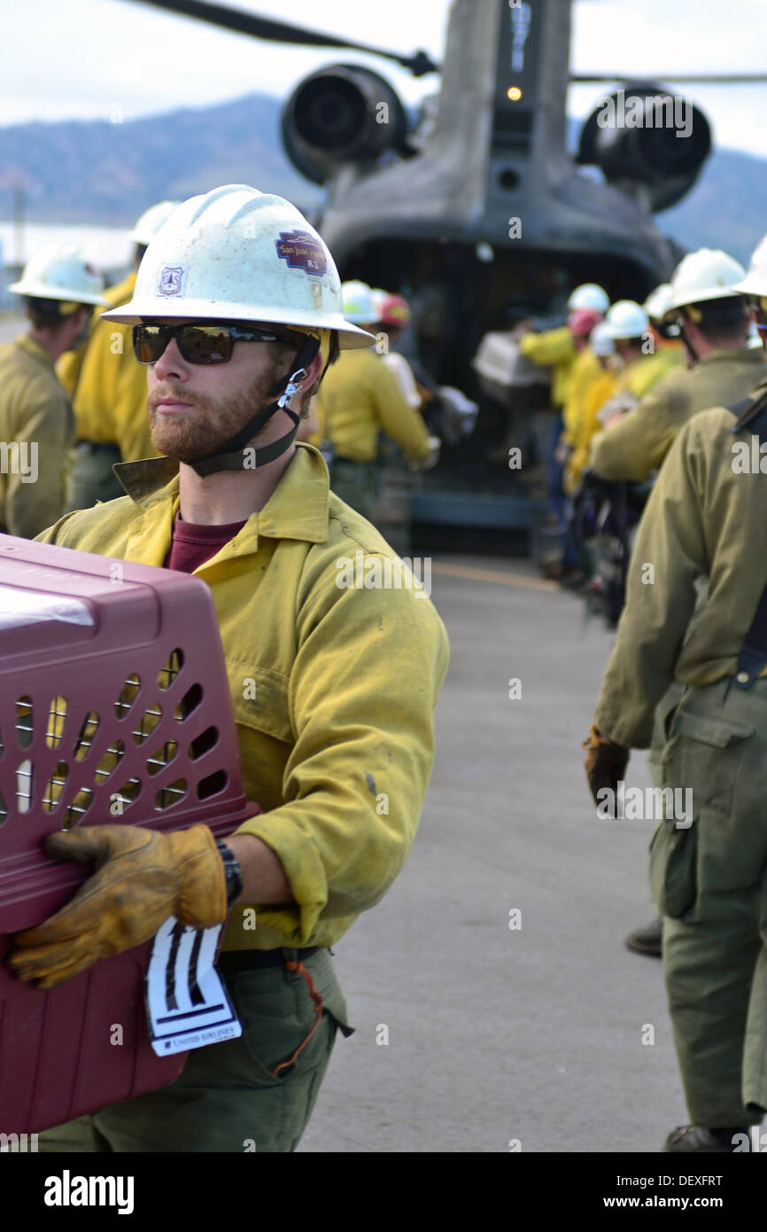 Zach Freundlich, with the San Juan Interagency Hotshots crew based in Durango, Colo., helps unload animals and evacuees Stock Photo
