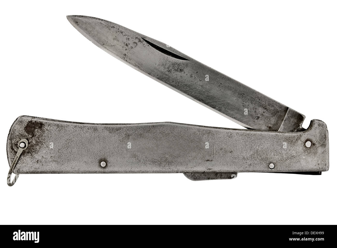 vintage pocket knife isolated over white background, clipping path Stock Photo