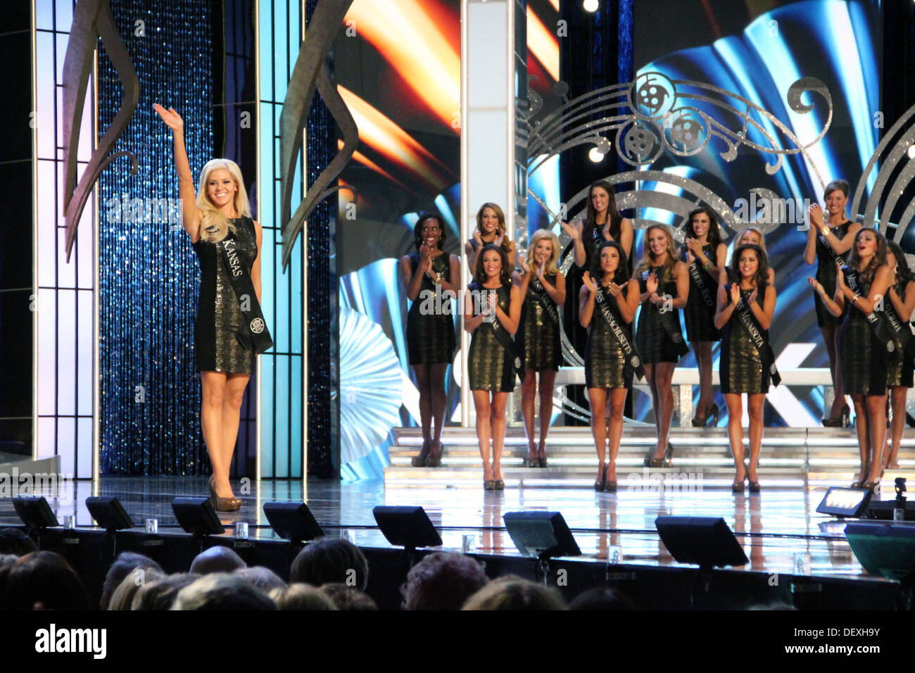 Sgt. Theresa Vail, Miss Kansas and a dental technician with Kansas National Guard's Medical Detachment, thanks the crowd and viewers at home shortly after being announced the first semifinalist into the top 15 by winning America's choice of the Miss Ameri - Stock Image