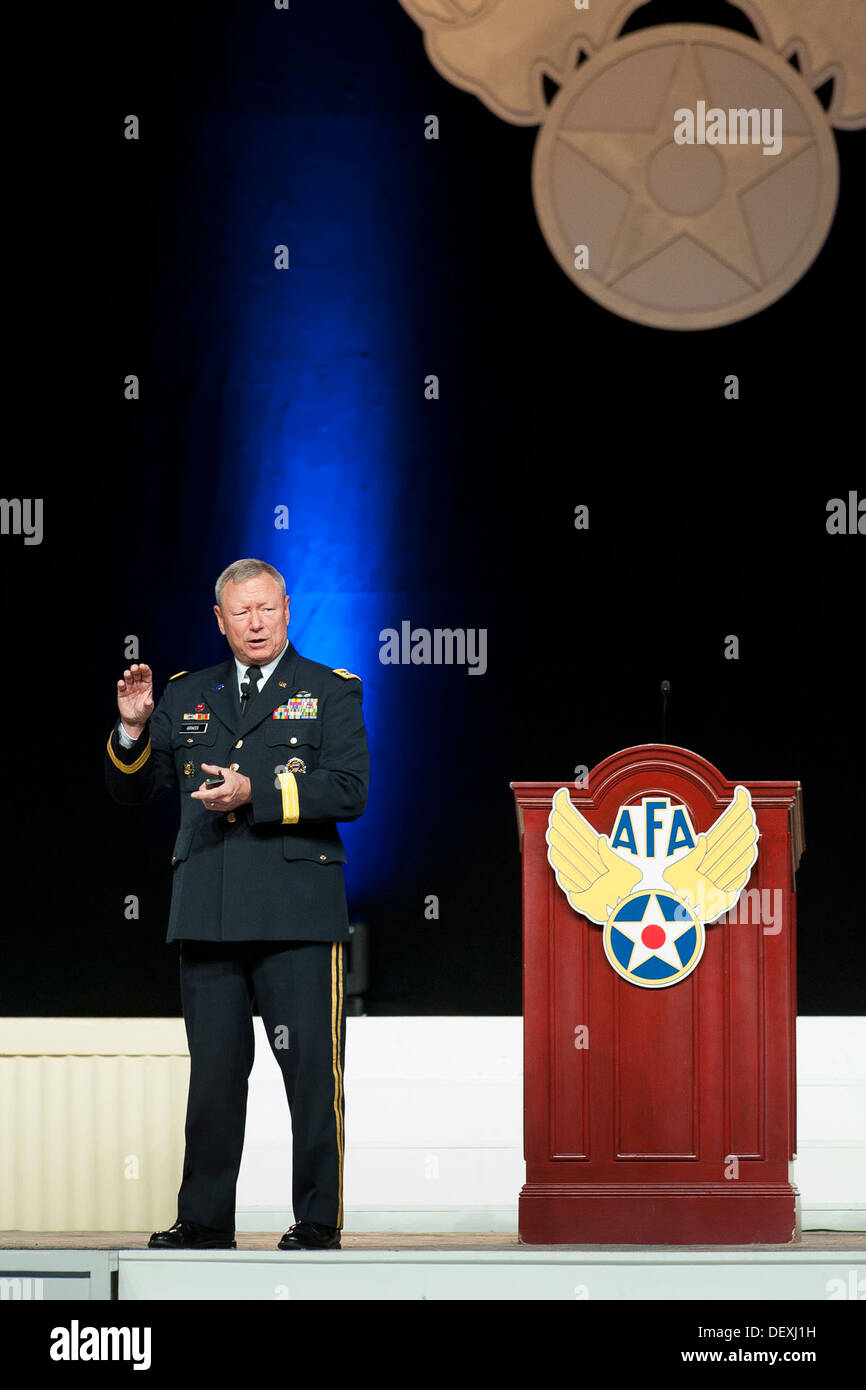 Gen. Frank J. Grass, chief of the National Guard Bureau, addresses an audience during the Air Force Association's Air and Space - Stock Image