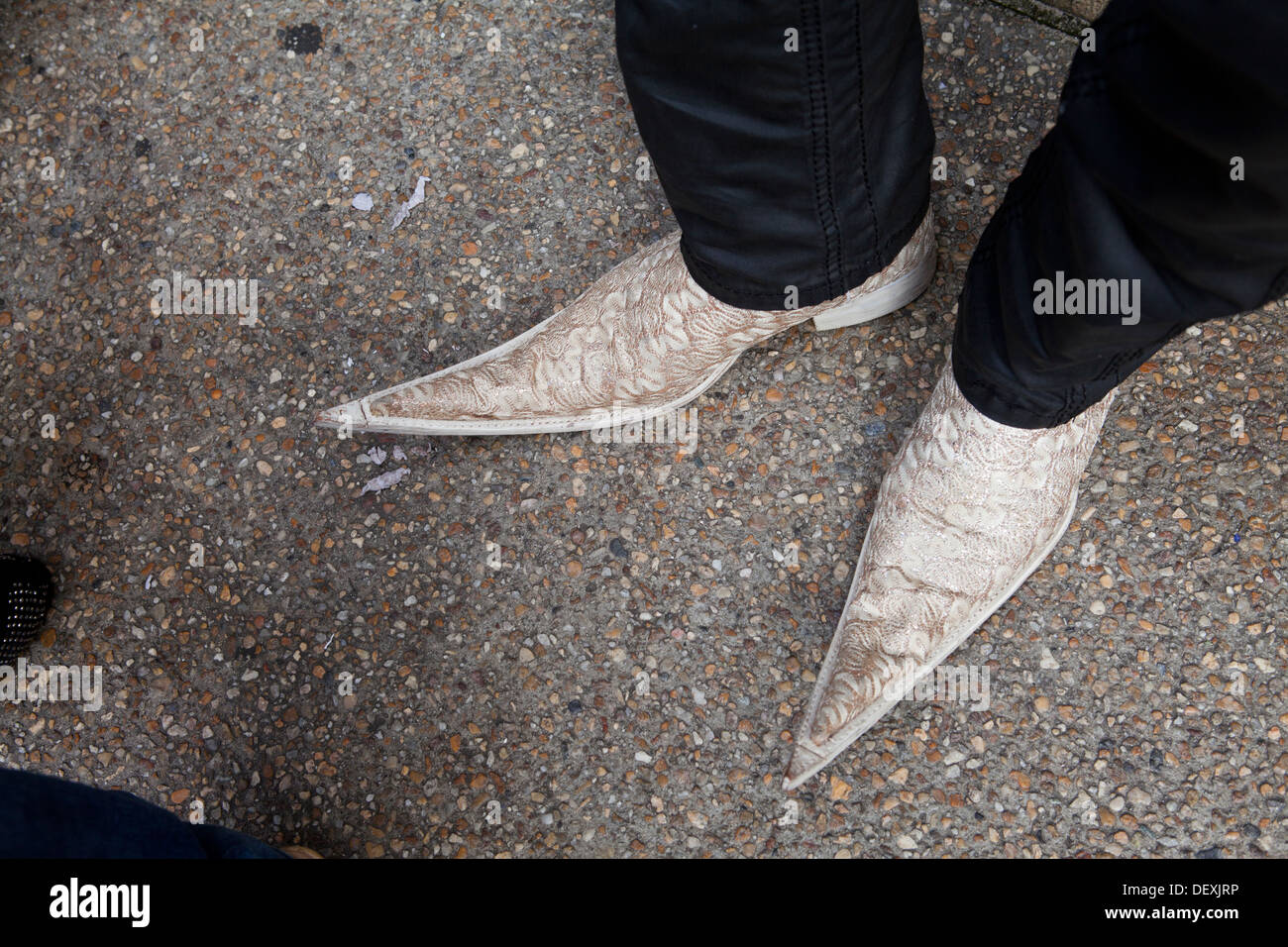 Closeup of man wearing pointy shoes - Stock Image