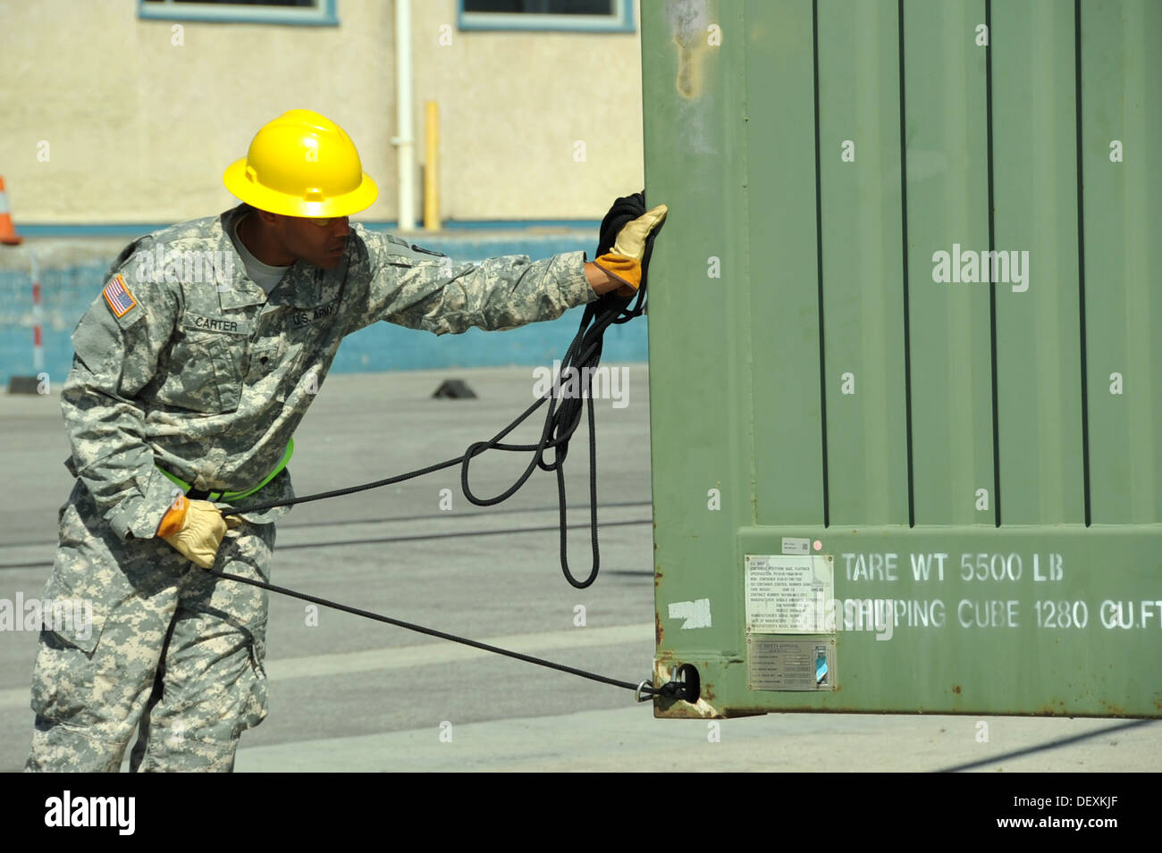 PORT HUENEME, Calif. – U.S. Army Reserve Spc. Niko Carter, a cargo specialist, 441st Transportation Company (Seaport Stock Photo