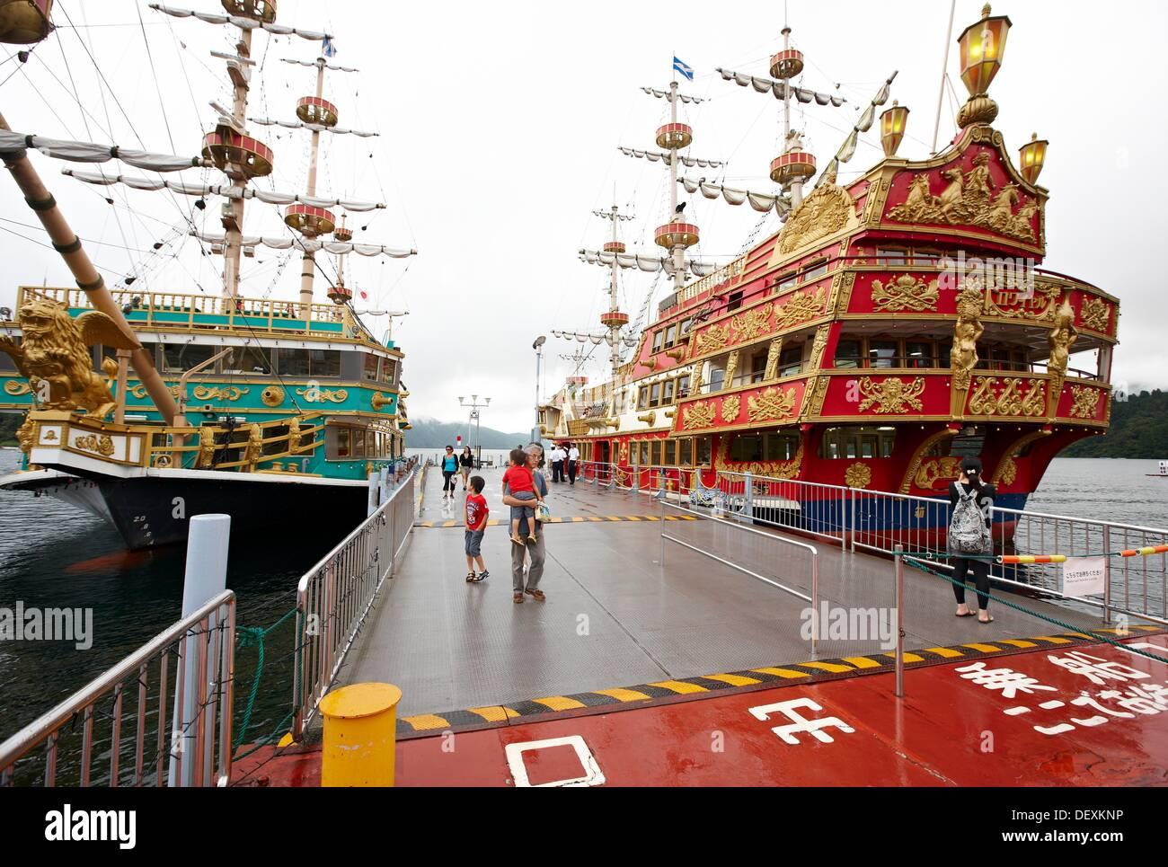 Hakone Sightseeing Cruise, Lake Ashi, Moto Hakone, Kanagawa, Japan. - Stock Image