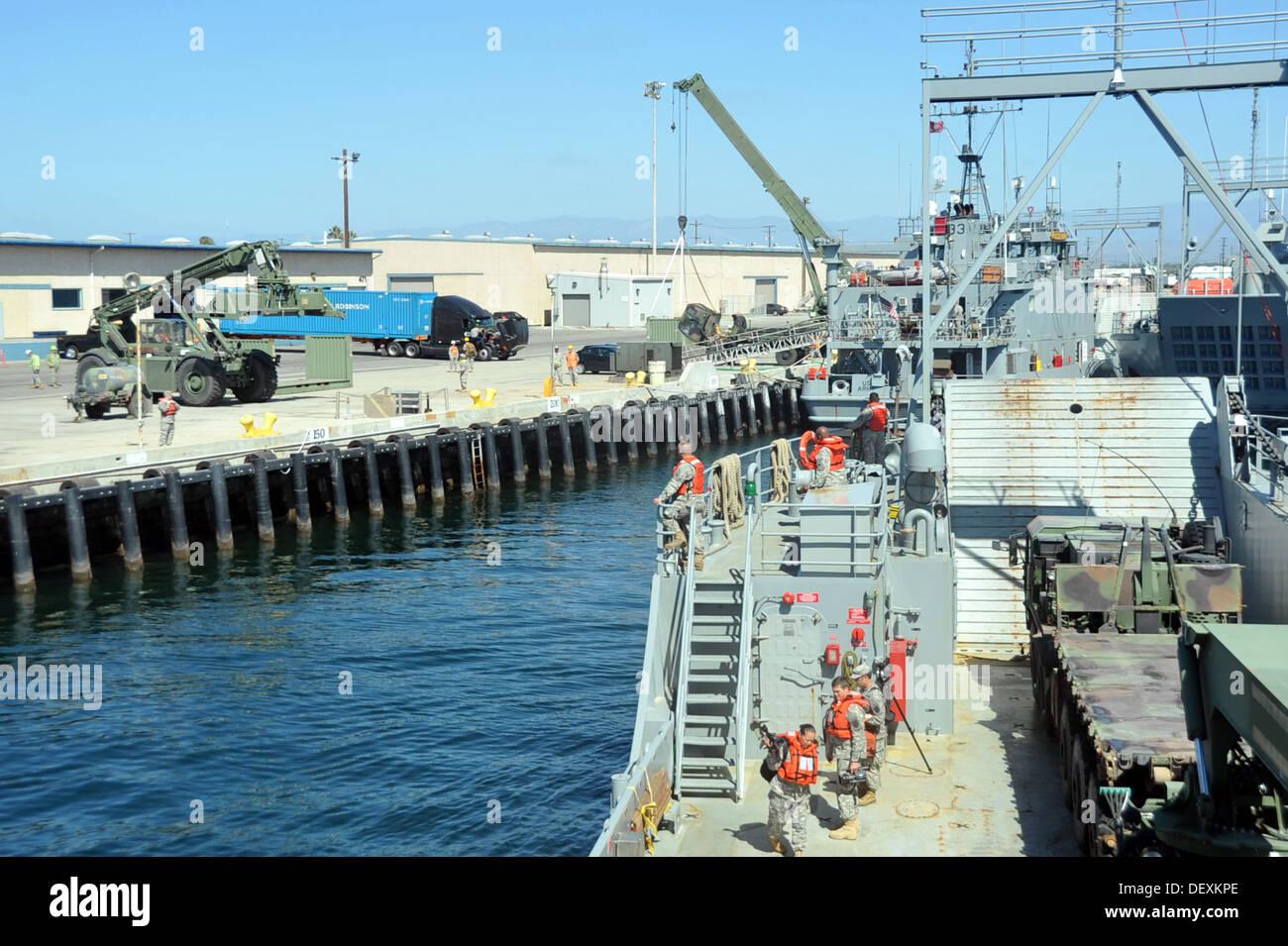 PORT HUENEME, Calif. – Landing Craft Utility (LCU) 2032, United States Army Vessel (USAV) Palo Alto, 481st Transportation Compan - Stock Image
