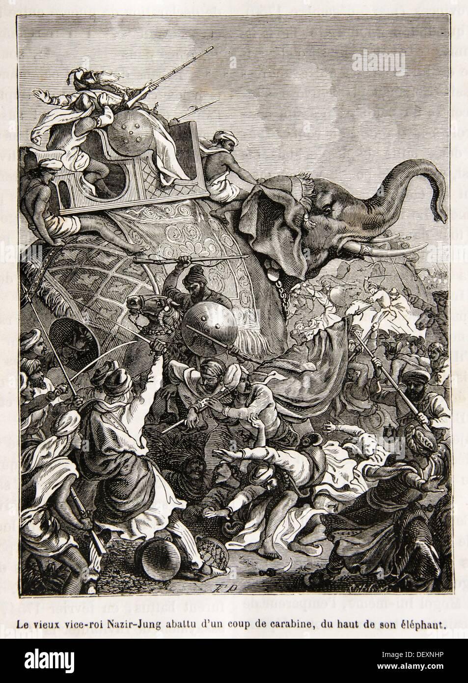 Viceroy Nasir Jung being shot dead by a carbine (´Le vieux vice-roi Natir-Jung abbatu d´un coup de carabine, du haut de son - Stock Image