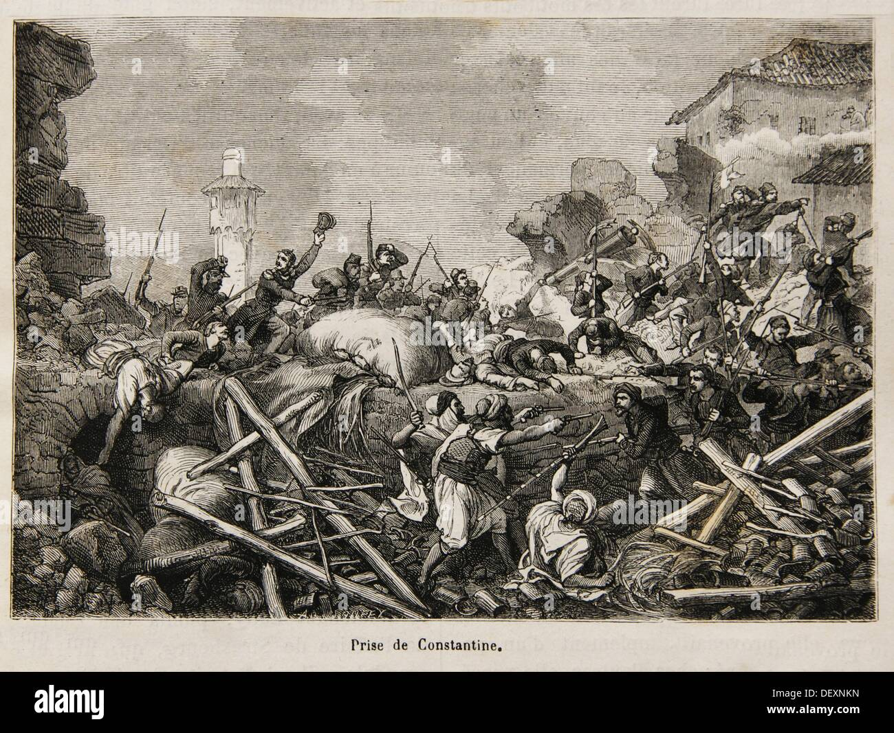 ´Prise de Constantine´, French troops during the colonisation of Algiers (19th century) - Stock Image