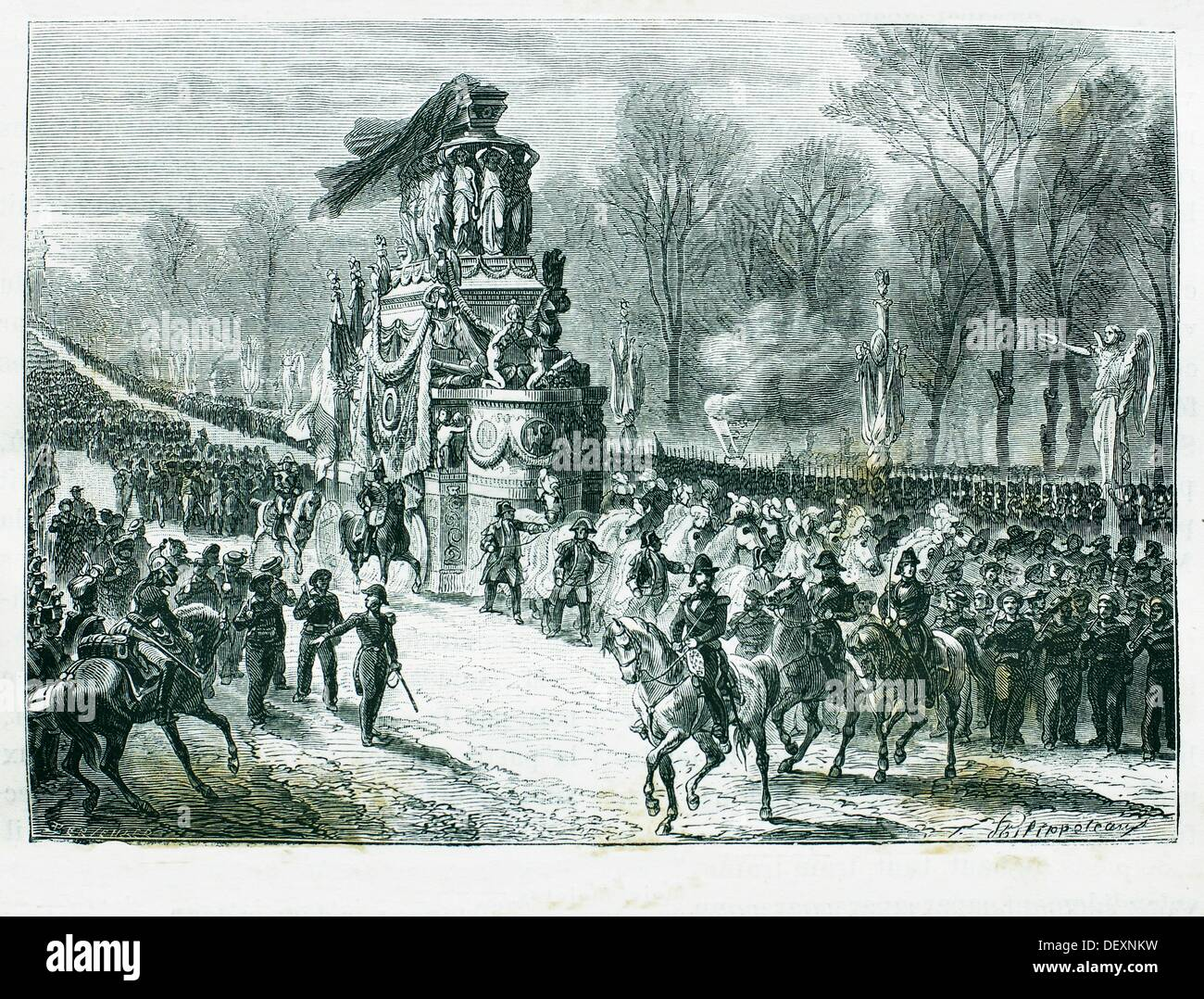 Napoleon´s mortal remains coming back to Paris on 14 December 1840, France - Stock Image