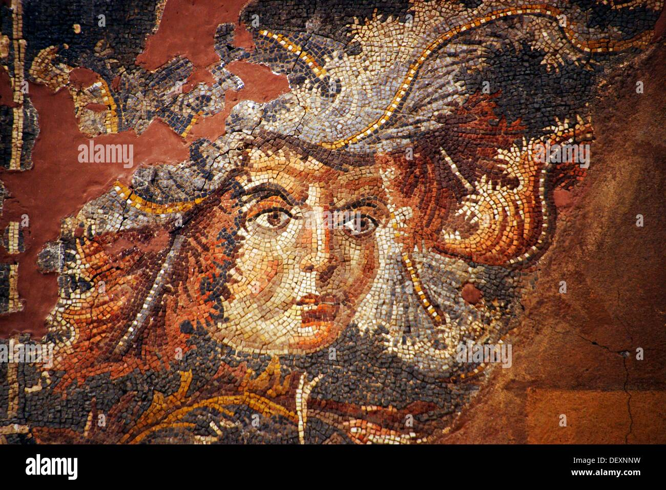 Detail on the mosaic of Bacchus and Ariadne (3rd century), Museum of Suweida, Suweida, Hauran, Syria - Stock Image