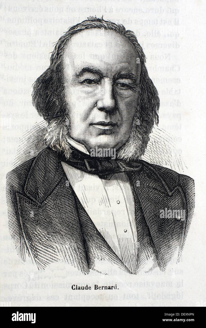 France, History, 19th Century, Claude Bernard July 12, 1813 - February 10, 1878 was a French physiologist Historian of science - Stock Image