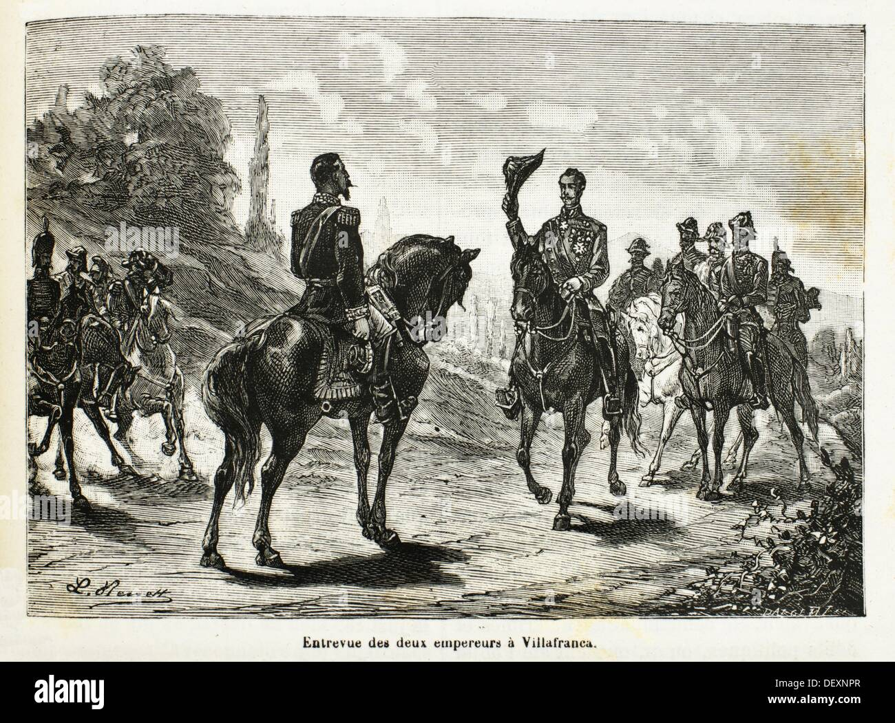 France - History- 19th Century - 1859, The preliminary peace of Villafranca, agreed to between Napoleon III and Franz Joseph on - Stock Image