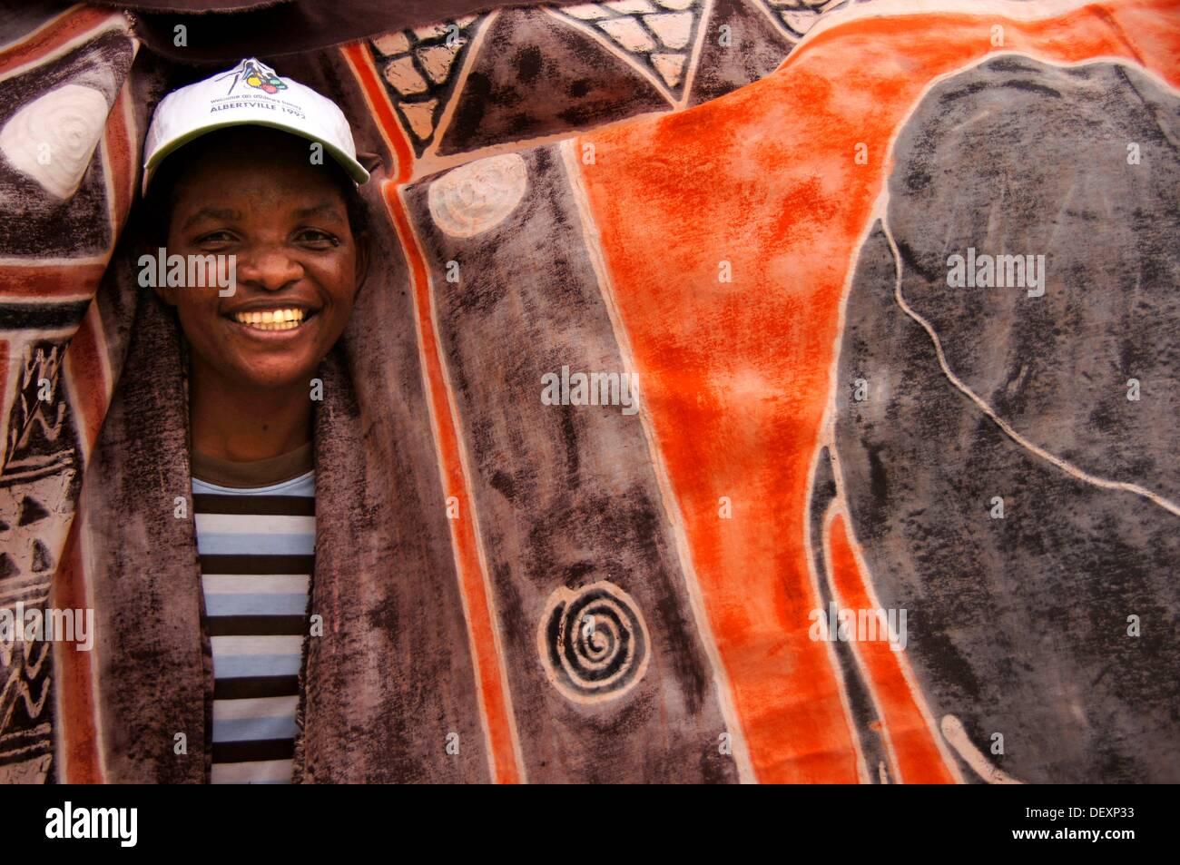 Handicraft with local motivs, at Maun, Botswana - Stock Image