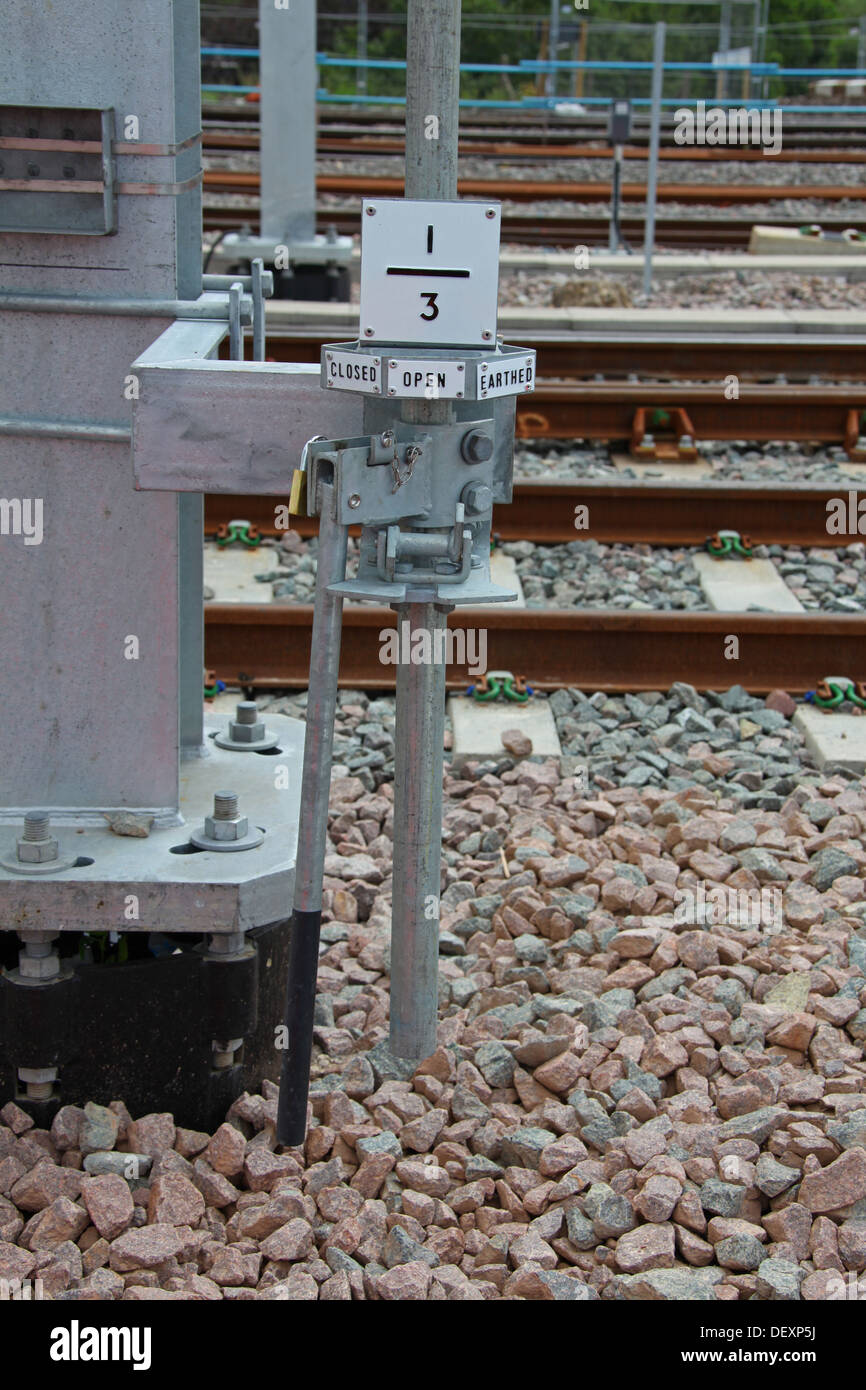 A newly installed Over Head Line Equipment (O.H.L.E.) isolation switch to allow isolation of particular areas. - Stock Image