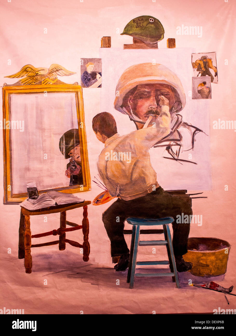 SAN DIEGO, Calif. -- A Veteran paints himself in a painting that echoes one of Norman Rockwell's most famous self-portraits, and - Stock Image