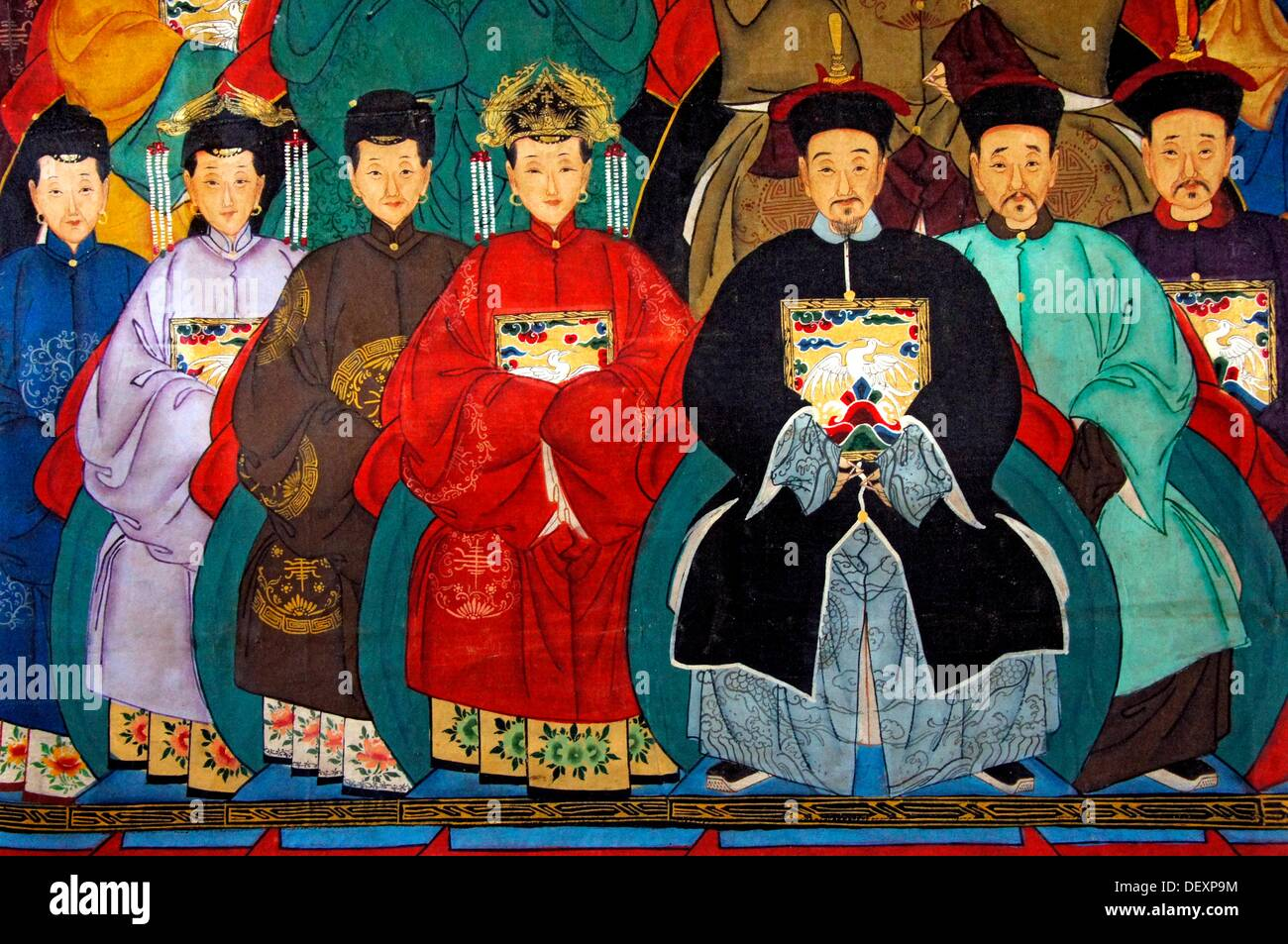 Painting on fabric representing high society (19th century), China - Stock Image