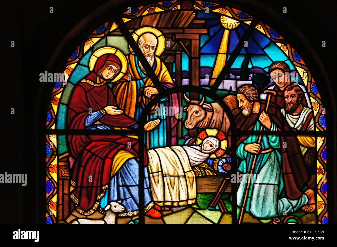 Ethiopia- Addis Abeba- at the Saint Trinity church at Adiis Ababa: Steaned glass representing the birth of Jesus at Nazareth - Stock Image