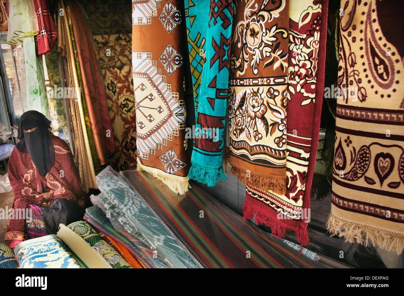 Muslim shop holder at the marked at Awasa, Ethiopia - Stock Image