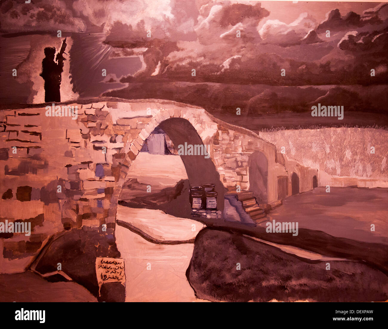 SAN DIEGO, Calif. -- The figure of a U.S. Marine stands sentinel in the dark and tumultuous world of a painting featured in the - Stock Image