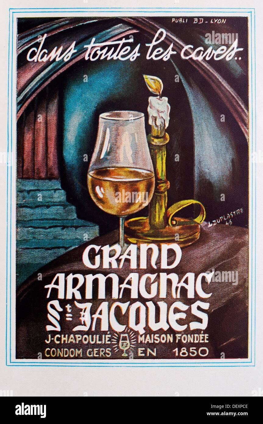 Ad in a magazine in the 1950´s: ´Dans toutes les caves, Grand Armagnac St Jacques, J. Chapoulié´ (Condom, Gers, Midi-Pyrenees, - Stock Image