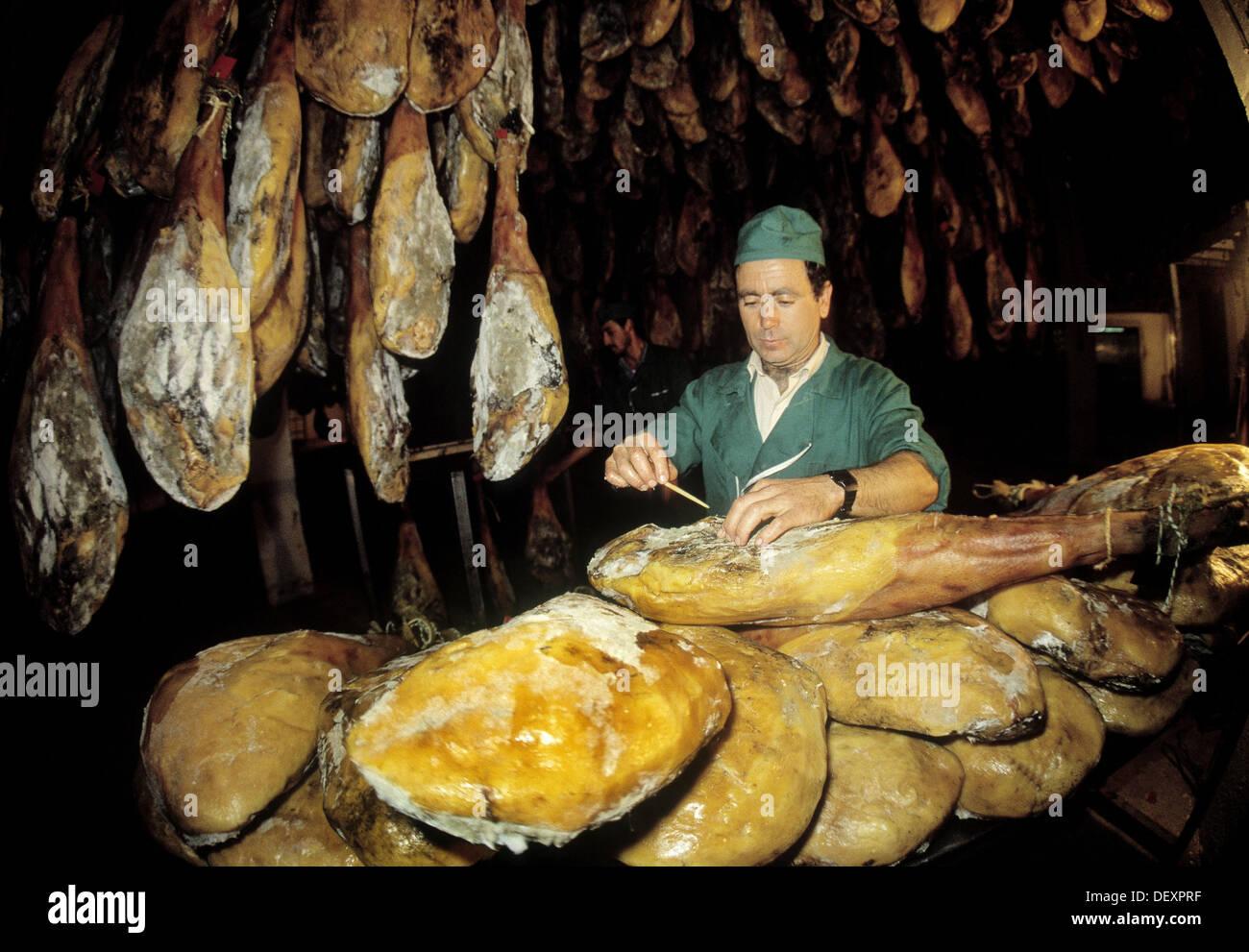 Hams of Jabugo in Sánchez Romero Carvajal factory caves. Jabugo. Huelva province, Spain - Stock Image