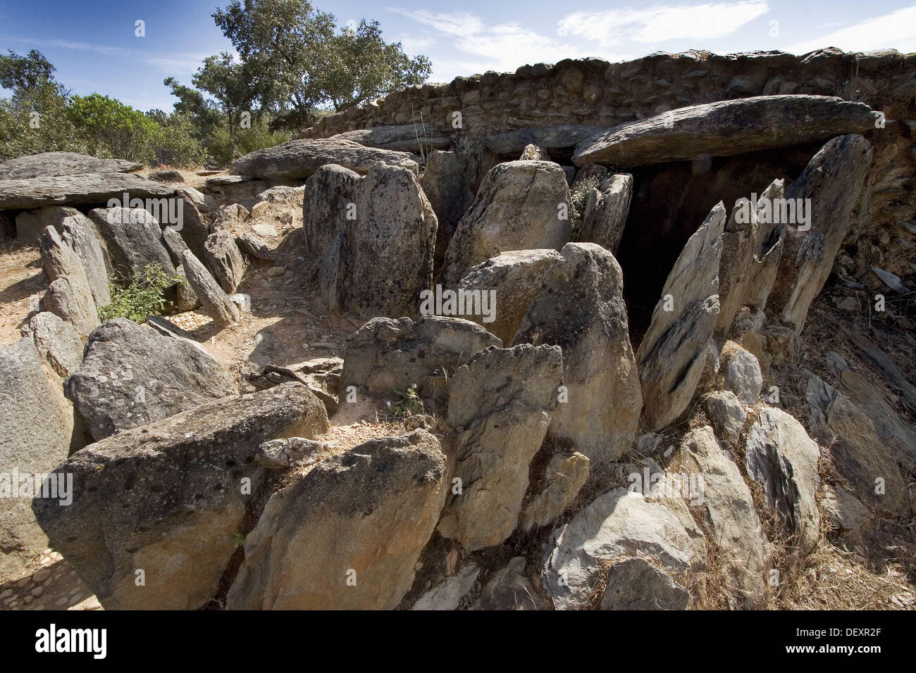 Prehistorical dolmen at El Pozuelo, near Zalamea la Real. Huelva province, Andalusia. Spain - Stock Image
