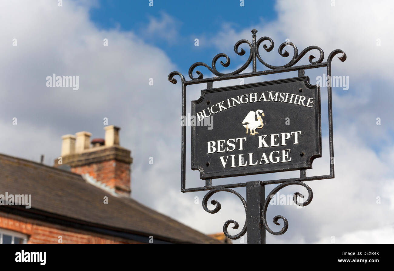 'Best Kept Village' sign in Little Marlow, Buckinghamshire, England, United Kingdom, Europe. Stock Photo