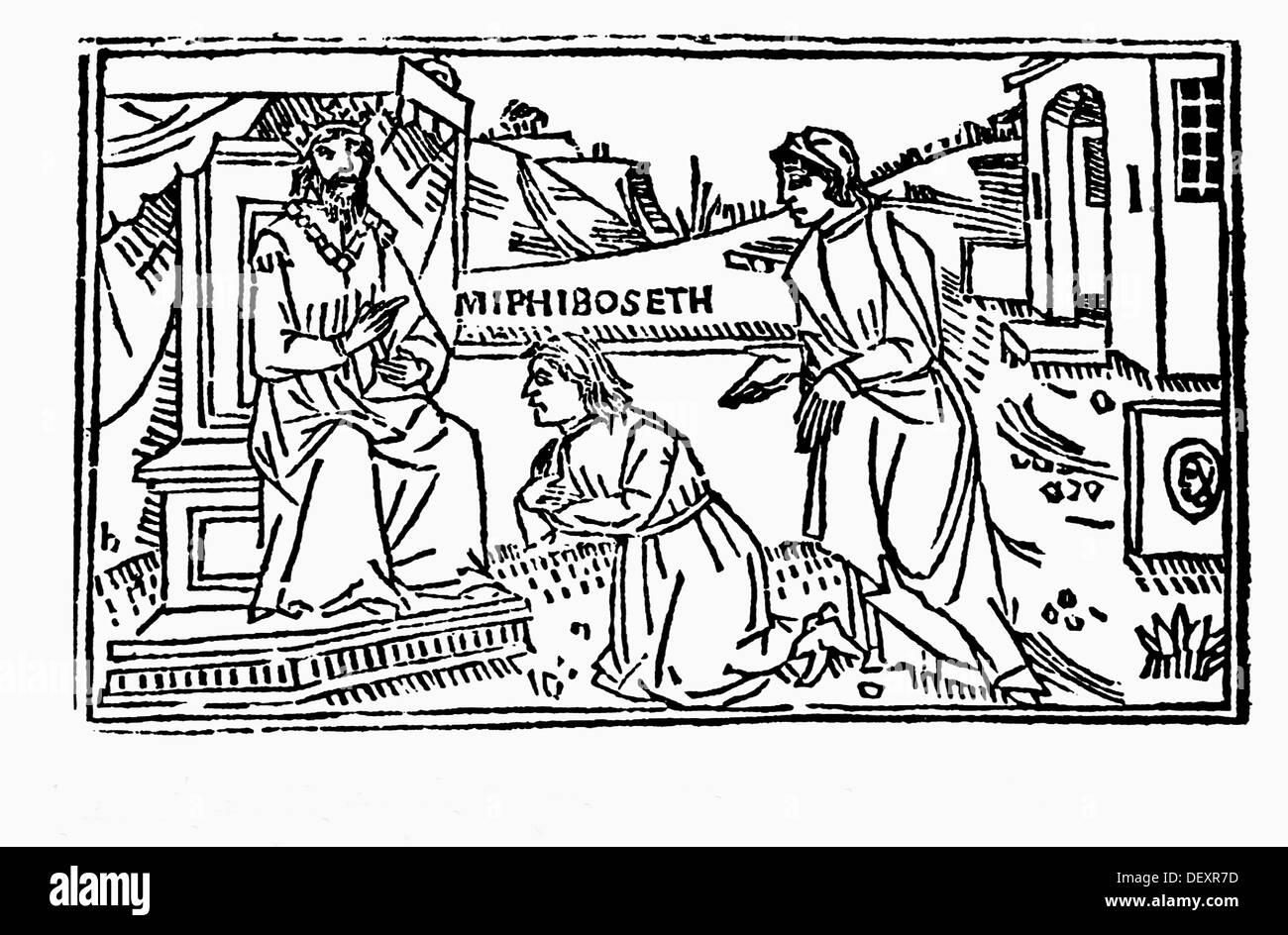 Meribbaal Called Mephibosheth Prostrates Before David Italian Bible Venice 1558