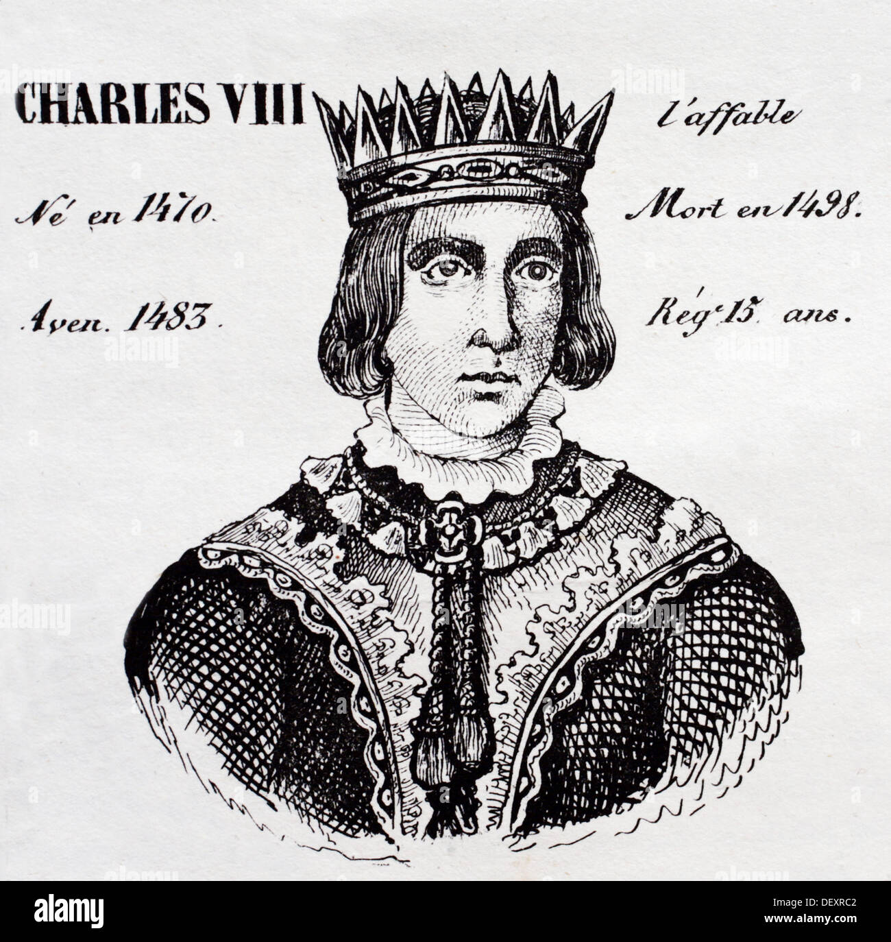 Charles VIII, the Affable, king of France from 1483 to 1498. History of France, by  J.Henry (Paris, 1842) - Stock Image