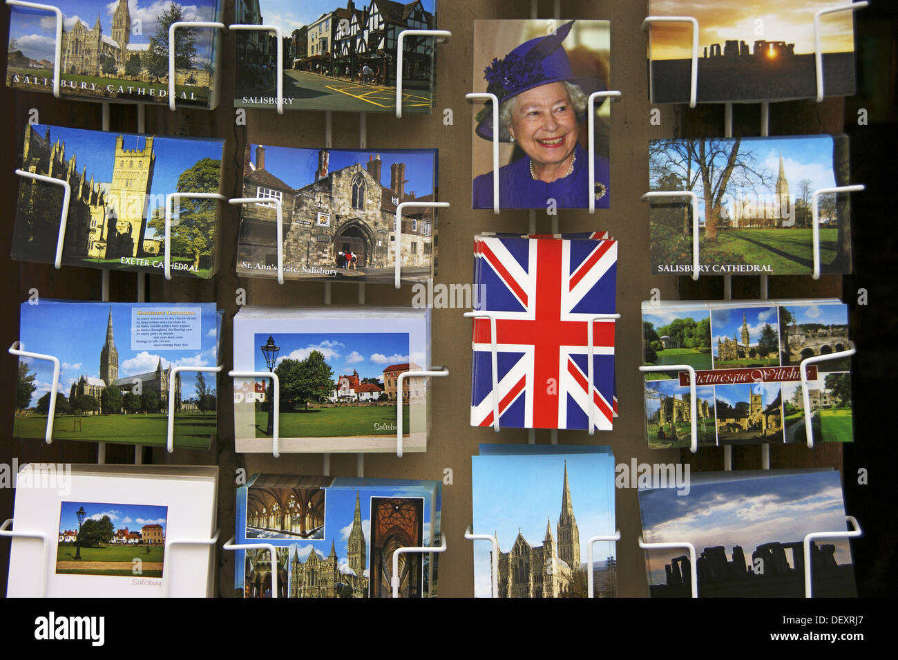 UK. Wiltshire. Postcards stand at Salisbury. - Stock Image