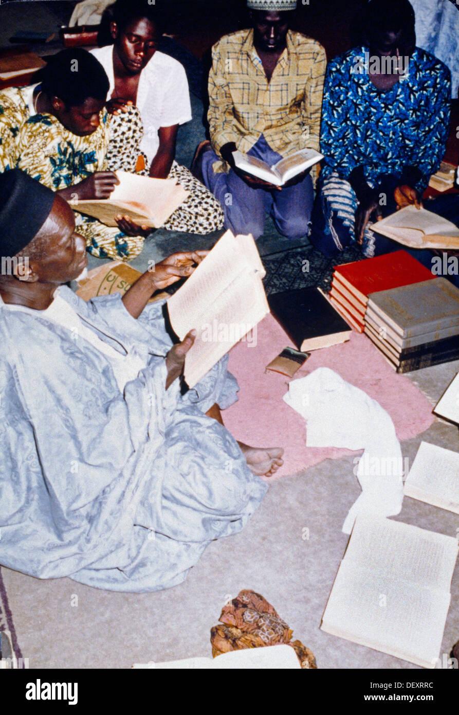 Dakar Senegal Reading Quran Inside Mosque - Stock Image
