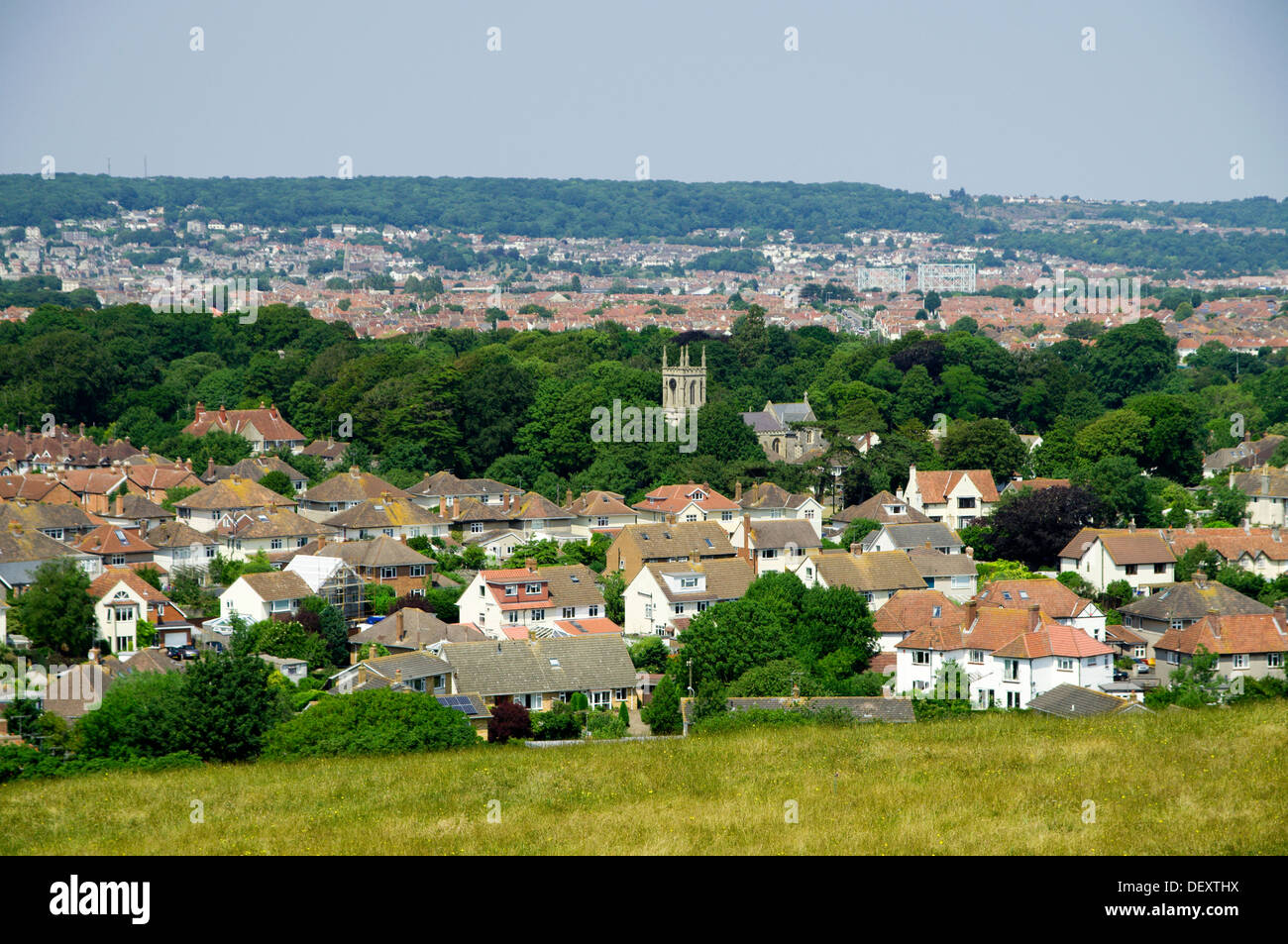View of weston-super-mare from Uphill hill, Somerset, England. - Stock Image