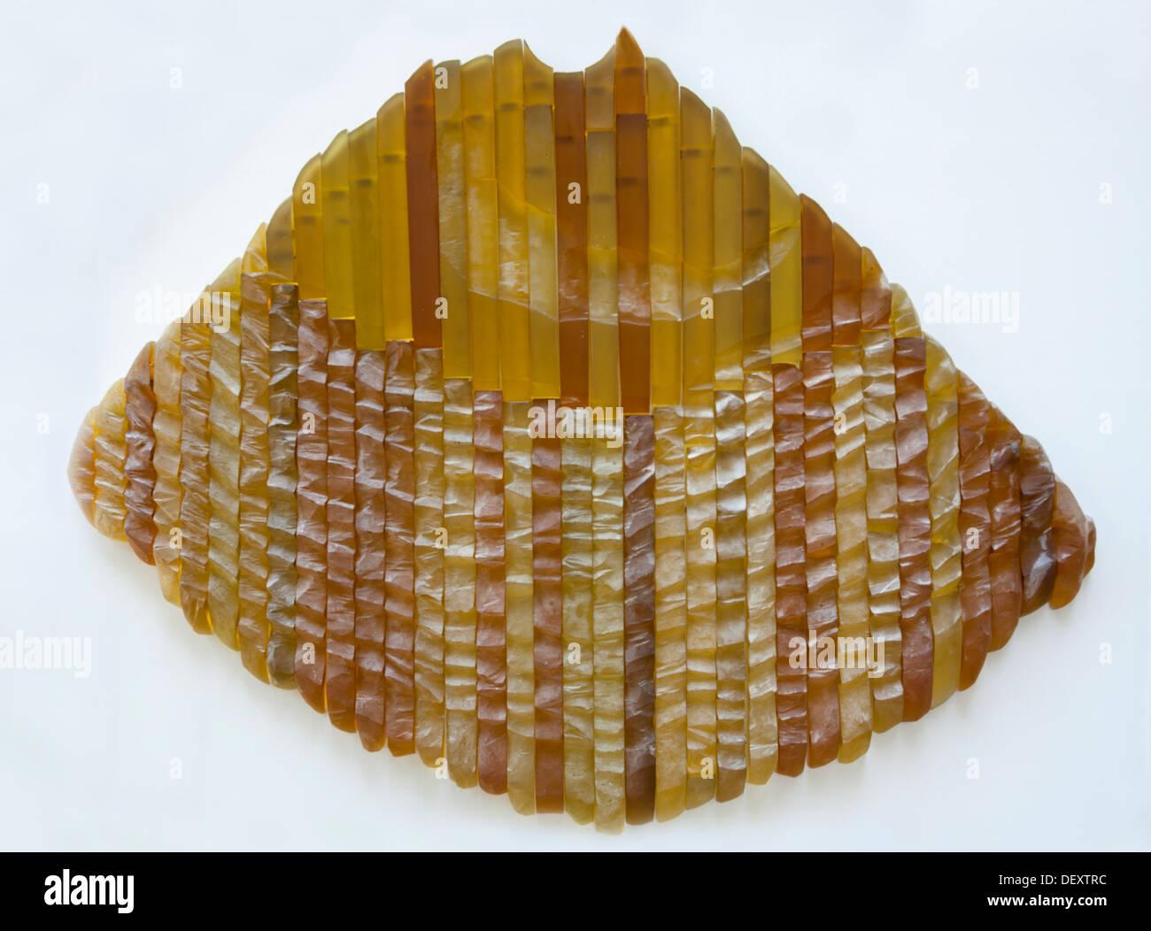 An Ursula Von Rydingsvard's work of Art entitled 'Glass' (Venice). Une oeuvre d'art d'Ursula Von Rydingsvard intitulée 'Verre'. - Stock Image