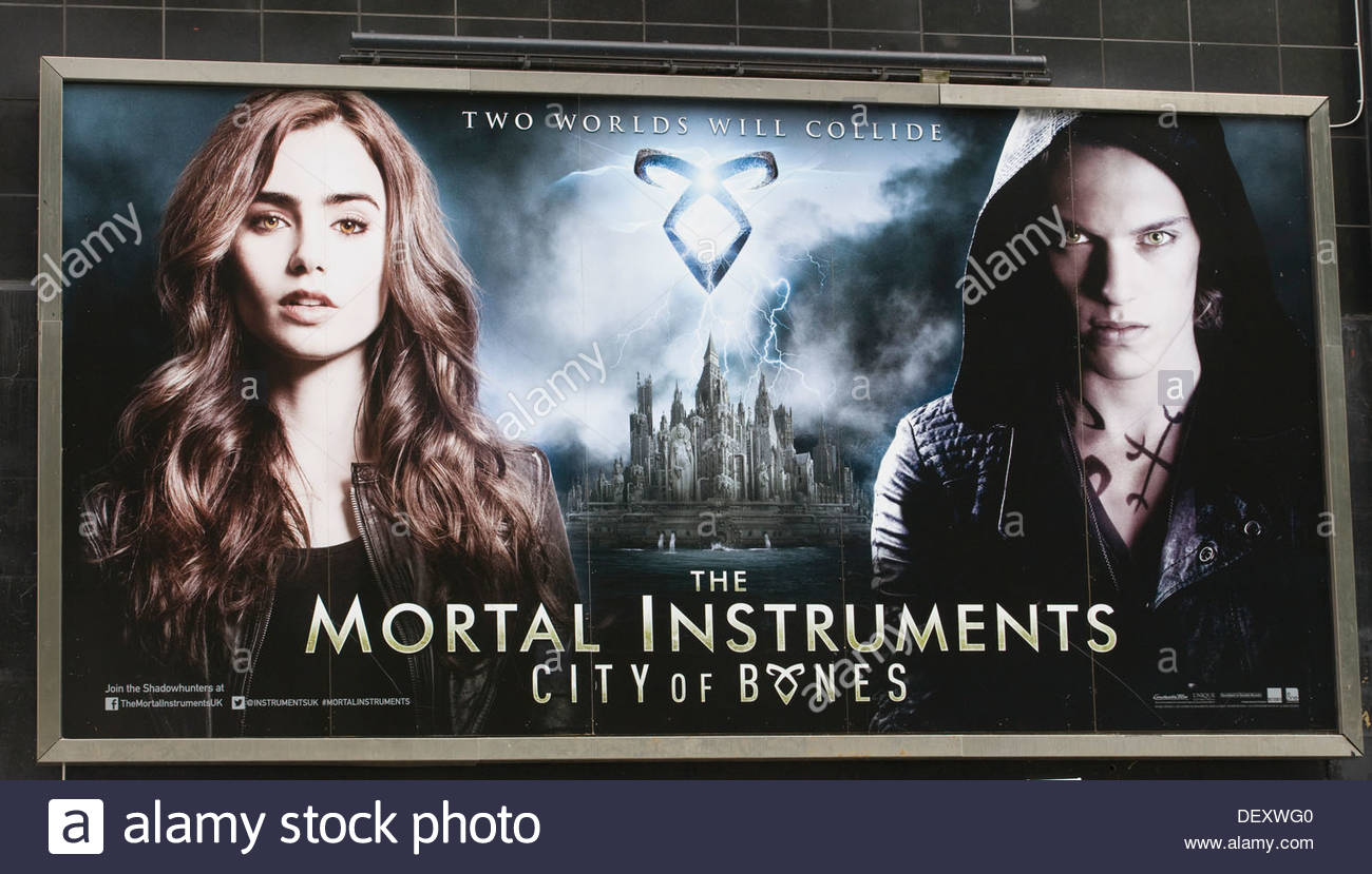 Movie poster advertising the film The Mortal Instruments 'City of Bones' - Stock Image