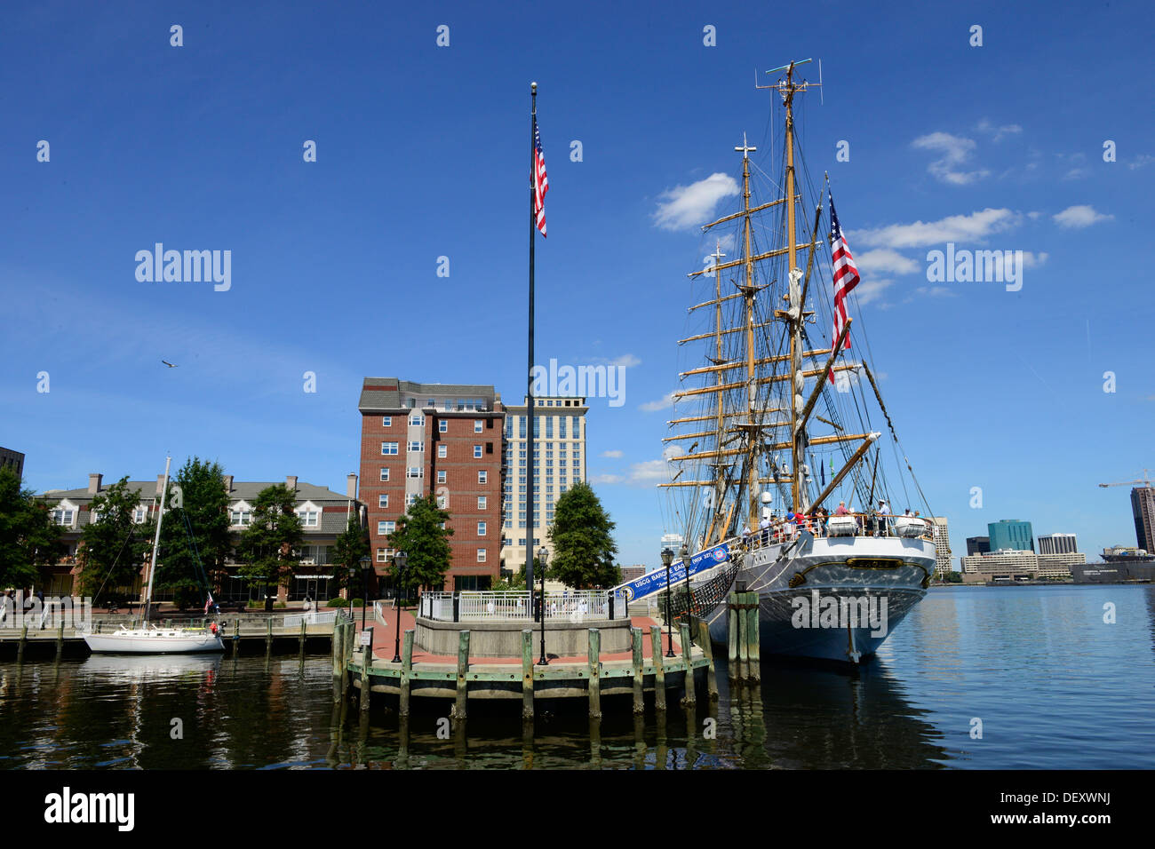 The Coast Guard Barque Eagle moored in Portsmouth, Va., on Sunday, Sept. 15, 2013. Thousands of people stopped by to tour the historic tall ship. - Stock Image