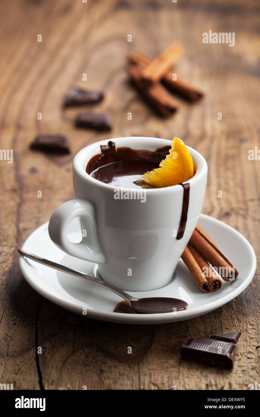 hot chocolate with orange and cinnamon - Stock Image