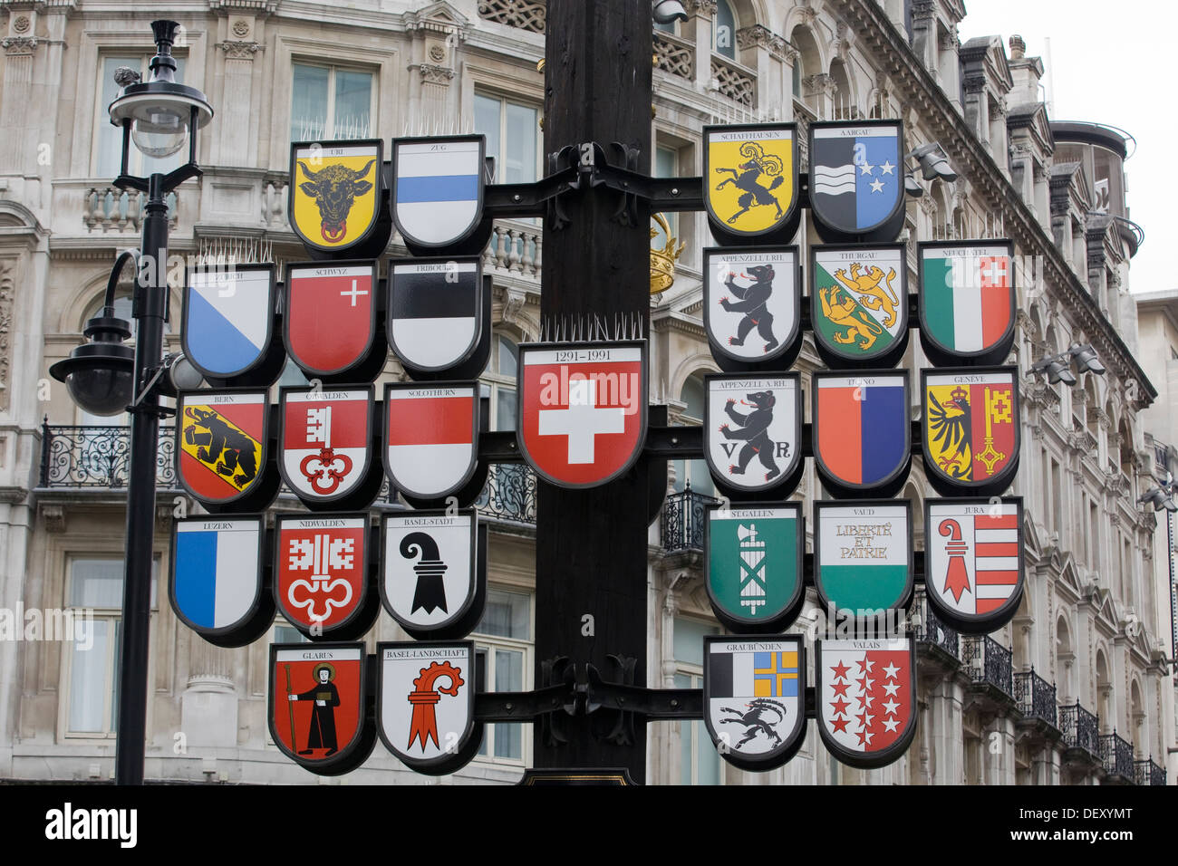 Plaques celebrating the Swiss British relationship in Leicester Square - Stock Image