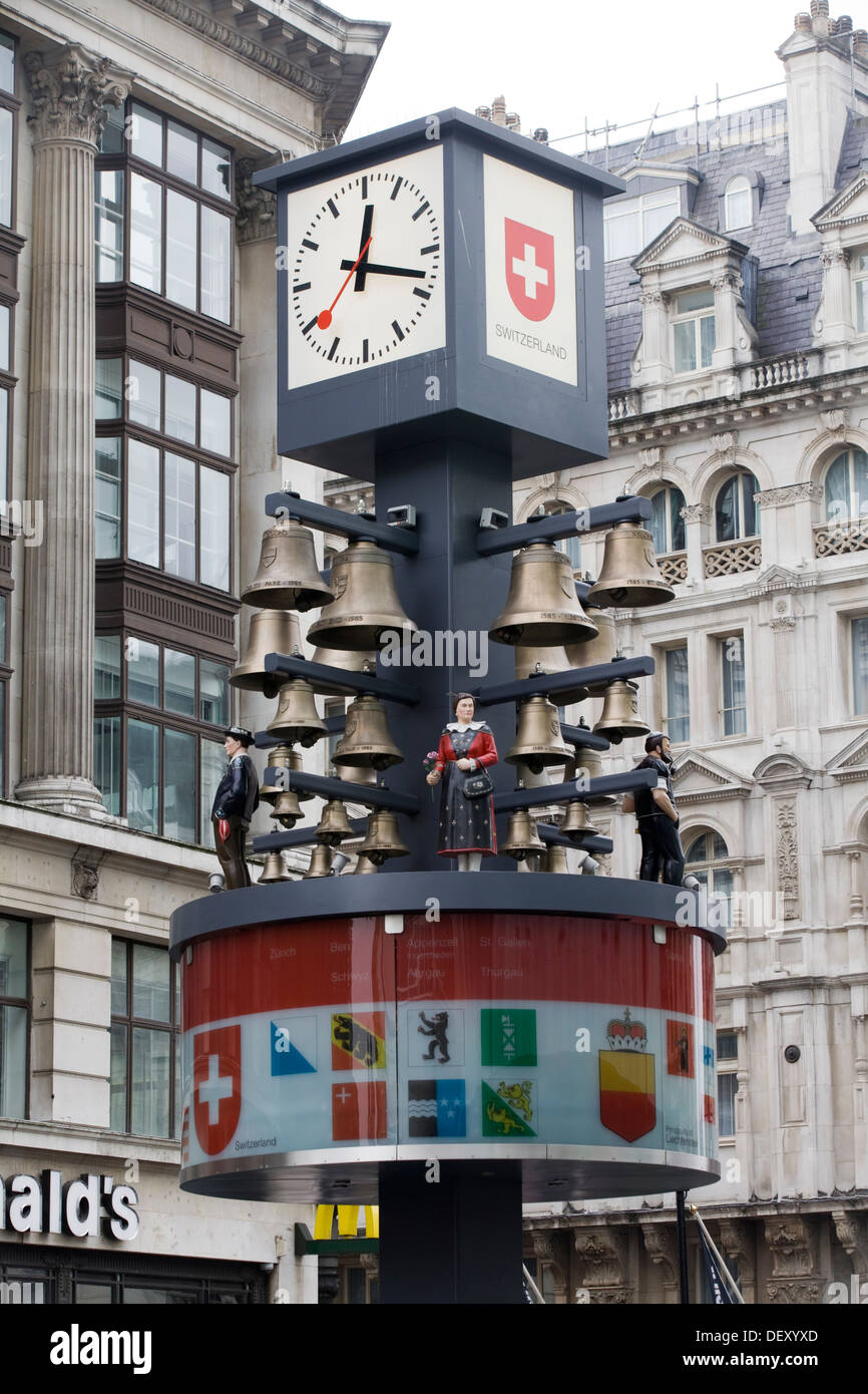Glockenspiel clock in Leicester Square London - Stock Image