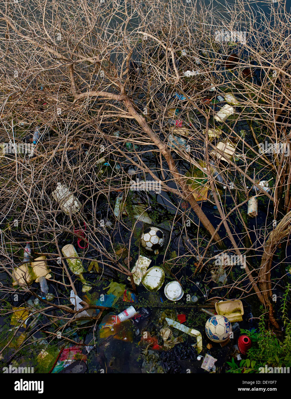 Polluted river with rubbish accumulating. - Stock Image