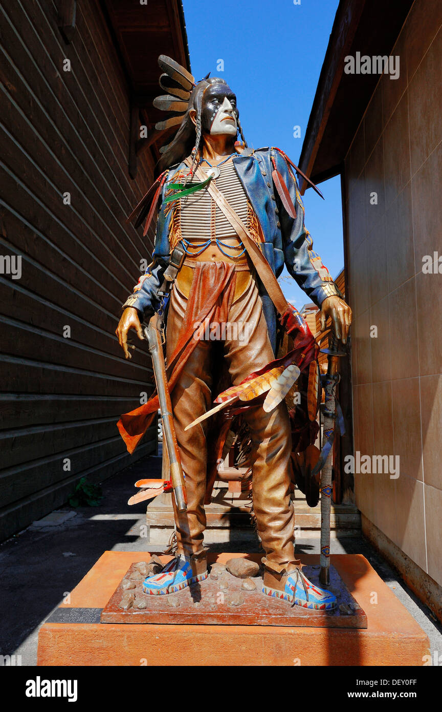 Indian statue in Jackson, Wyoming, USA, PublicGround - Stock Image