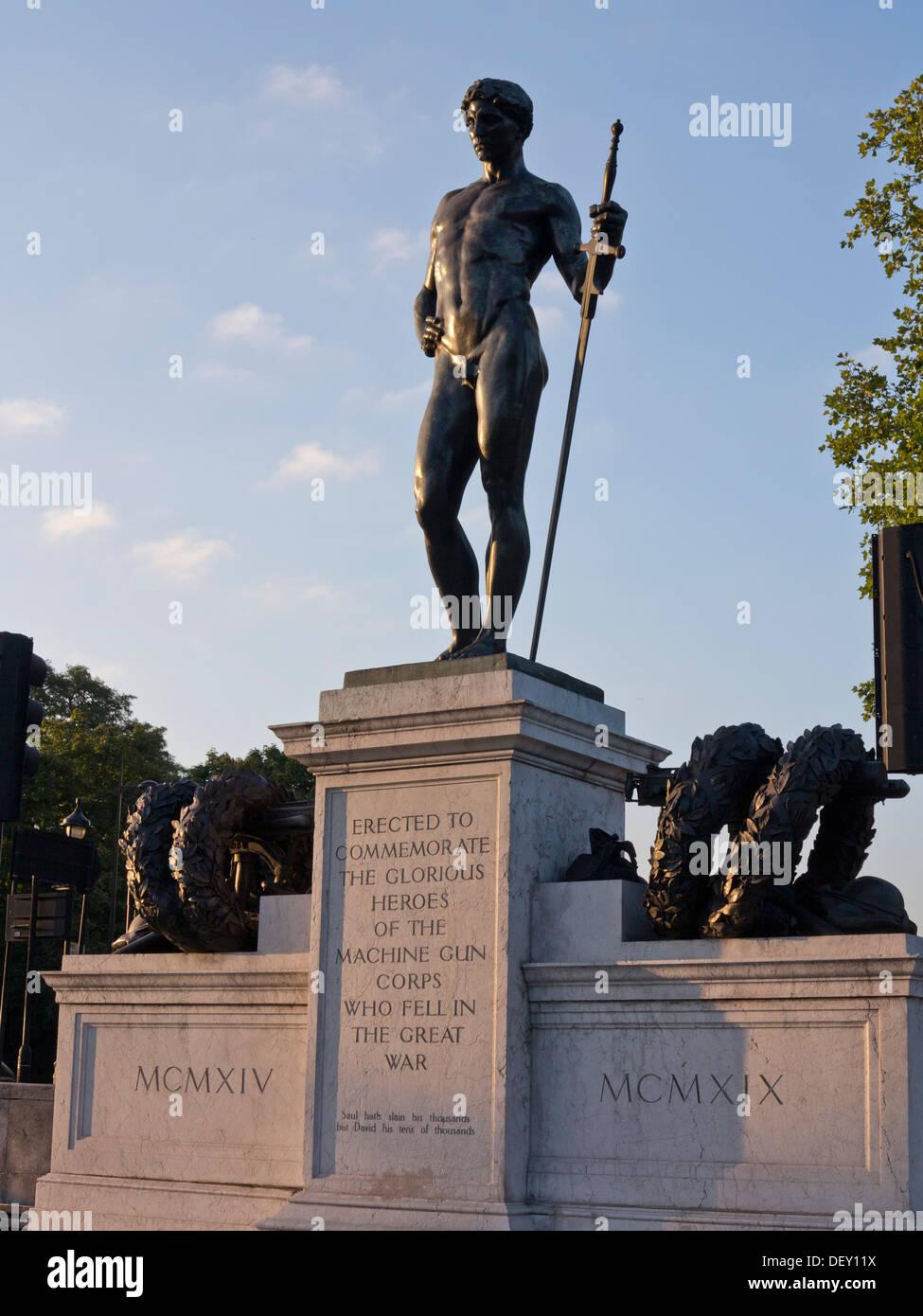 Machine Gun Corps memorial in Hyde park corner, London, UK - Stock Image