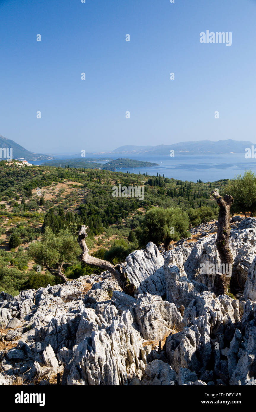 View from Meghas Birnos Hill near Spartohori across the Meganisi straights to the island of Lefkas, Ionian Islands, Greece. - Stock Image